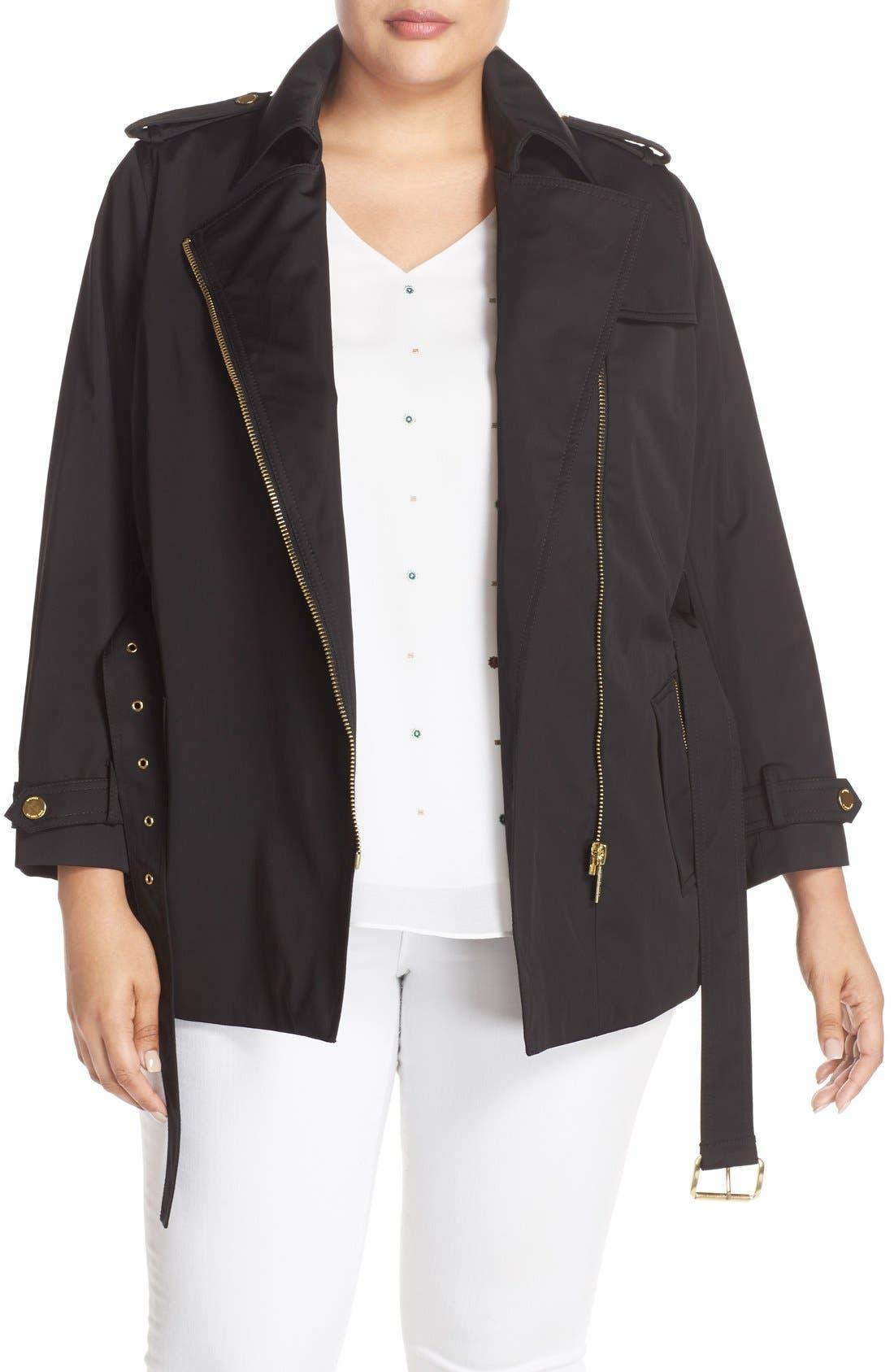 Short Zip Trench Coat,                             Main thumbnail 1, color,                             Black