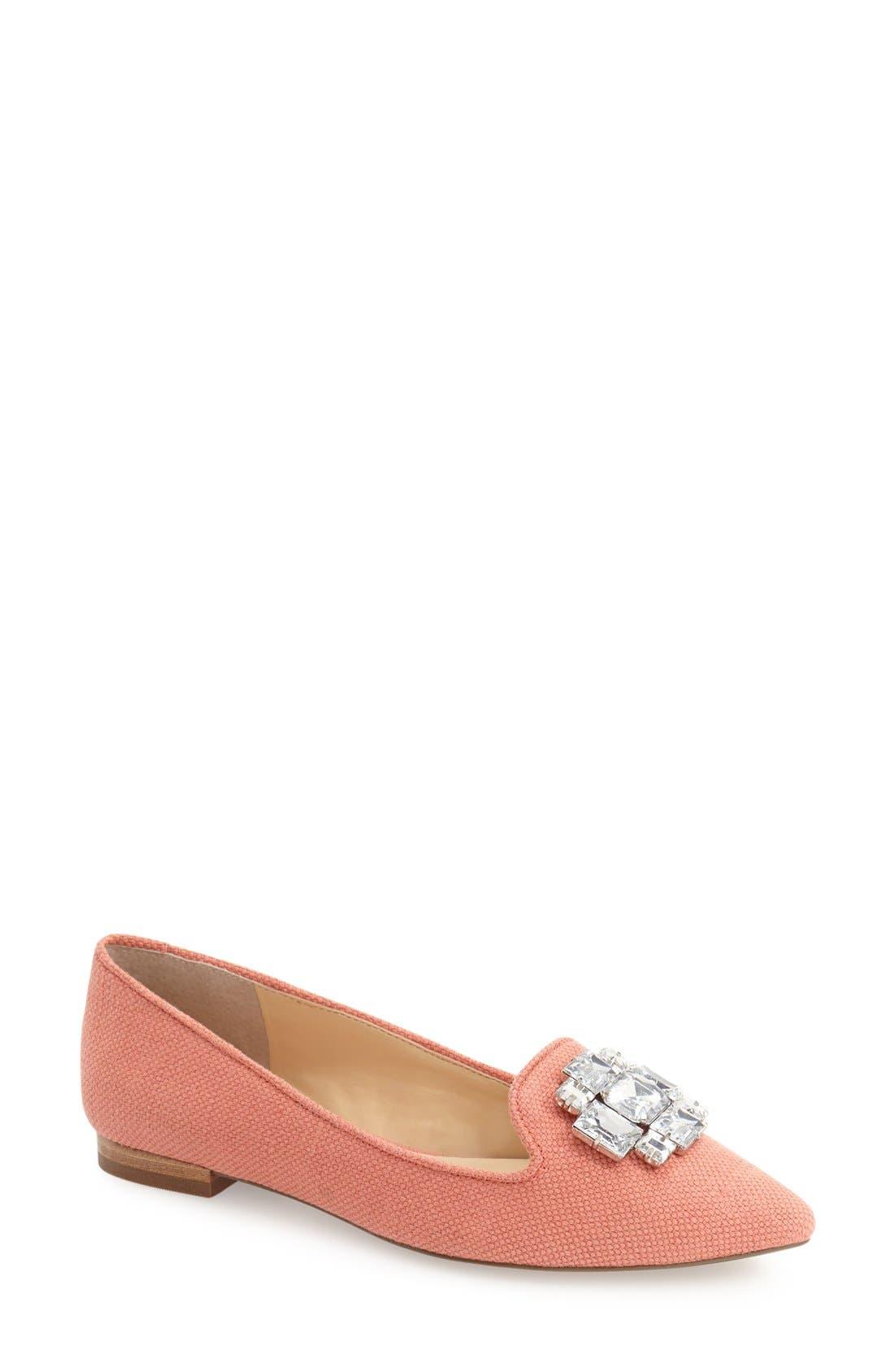 Sole Society 'Libry' Embellished Pointy Toe Flat (Women)