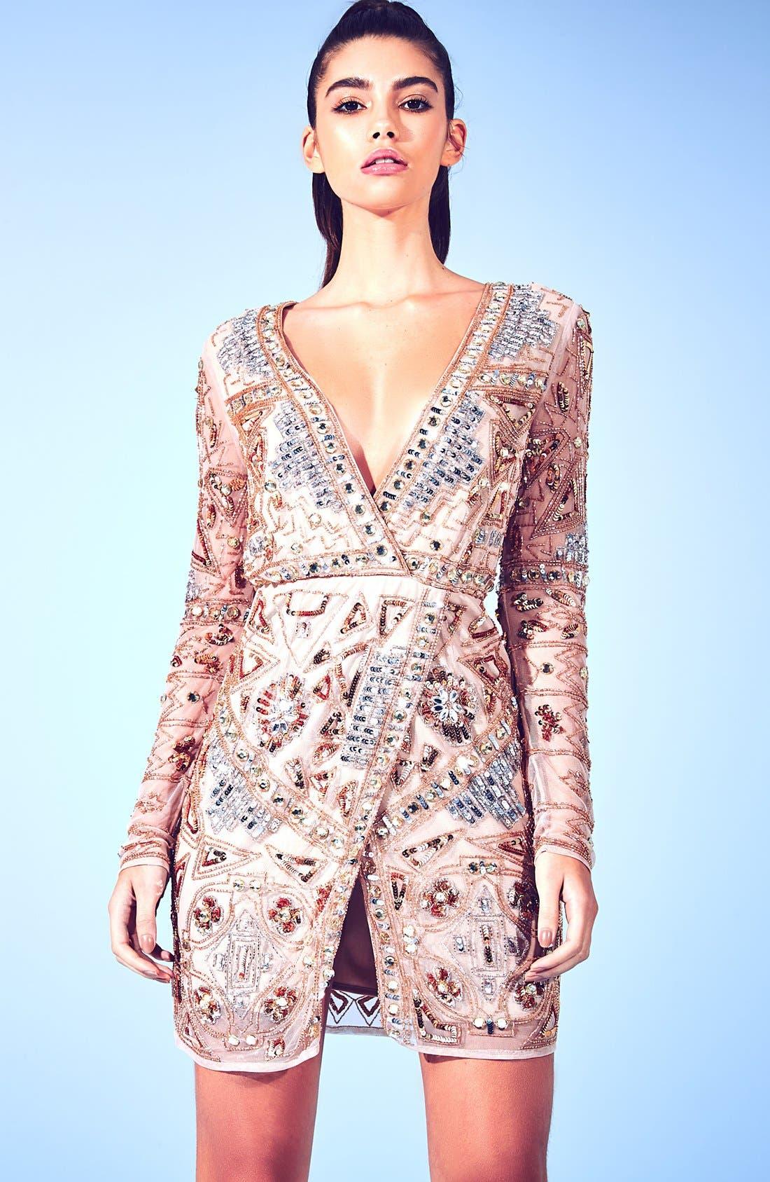 Alternate Image 5  - Missguided Embellished Plunge Wrap Dress