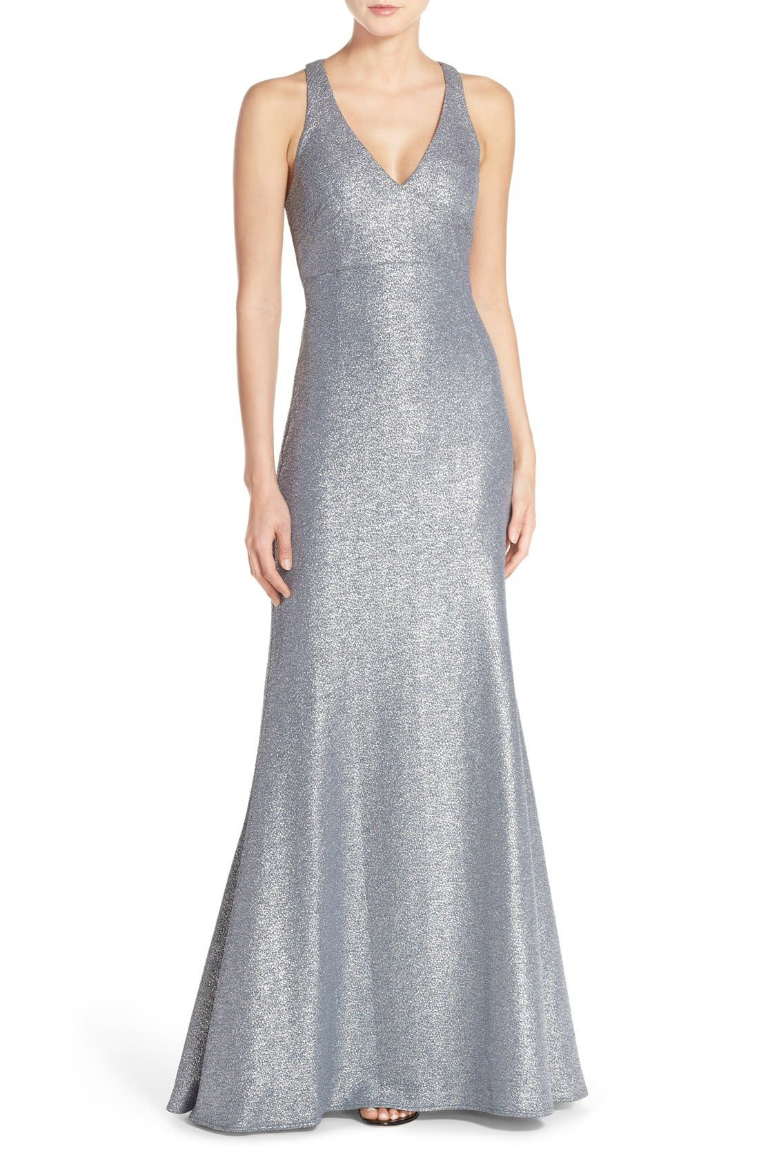 Alternate Image 1 Selected - David Meister Metallic Stretch Cutout Gown