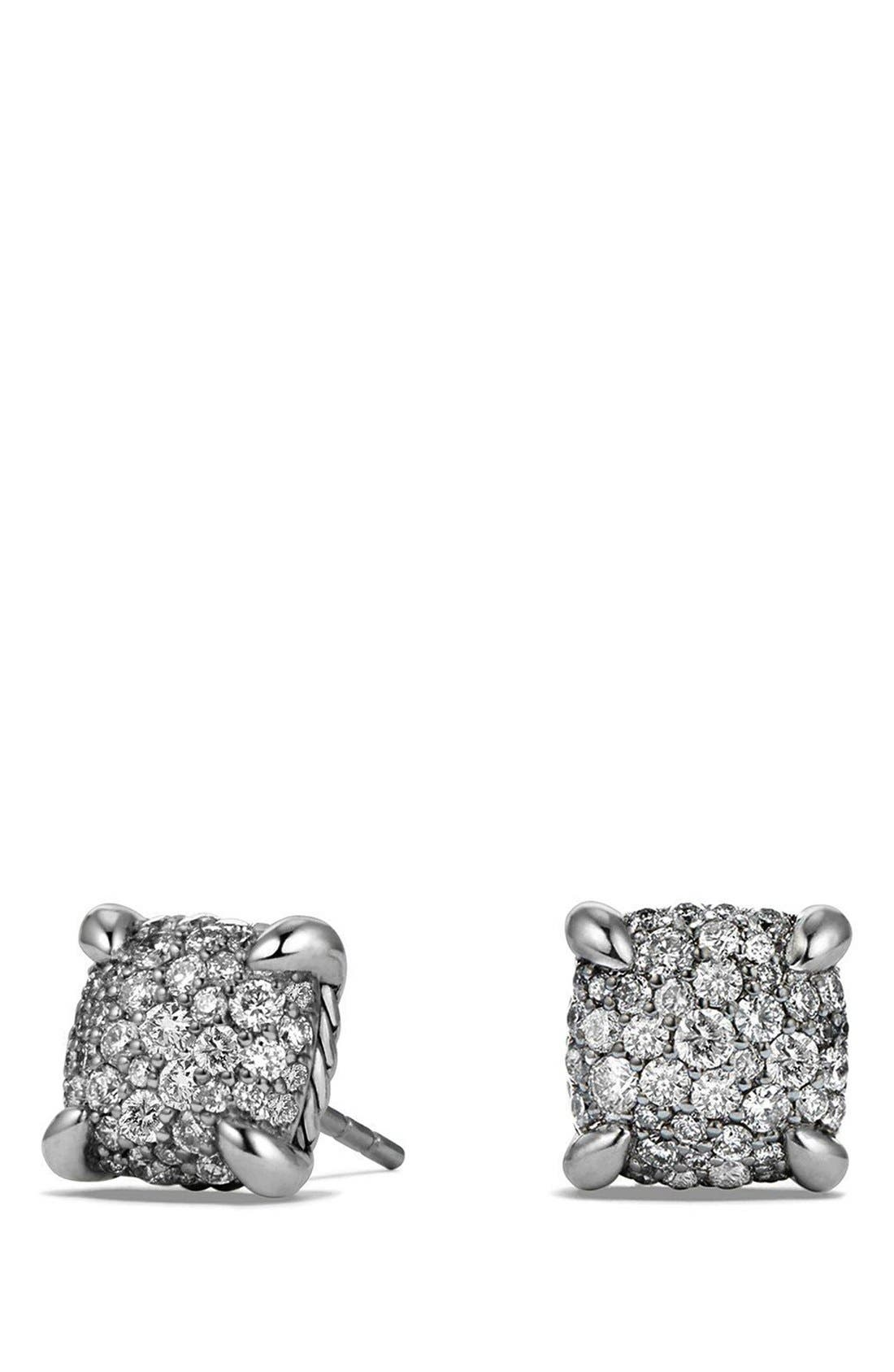 'Châtelaine' Earrings with Diamonds,                         Main,                         color, Silver