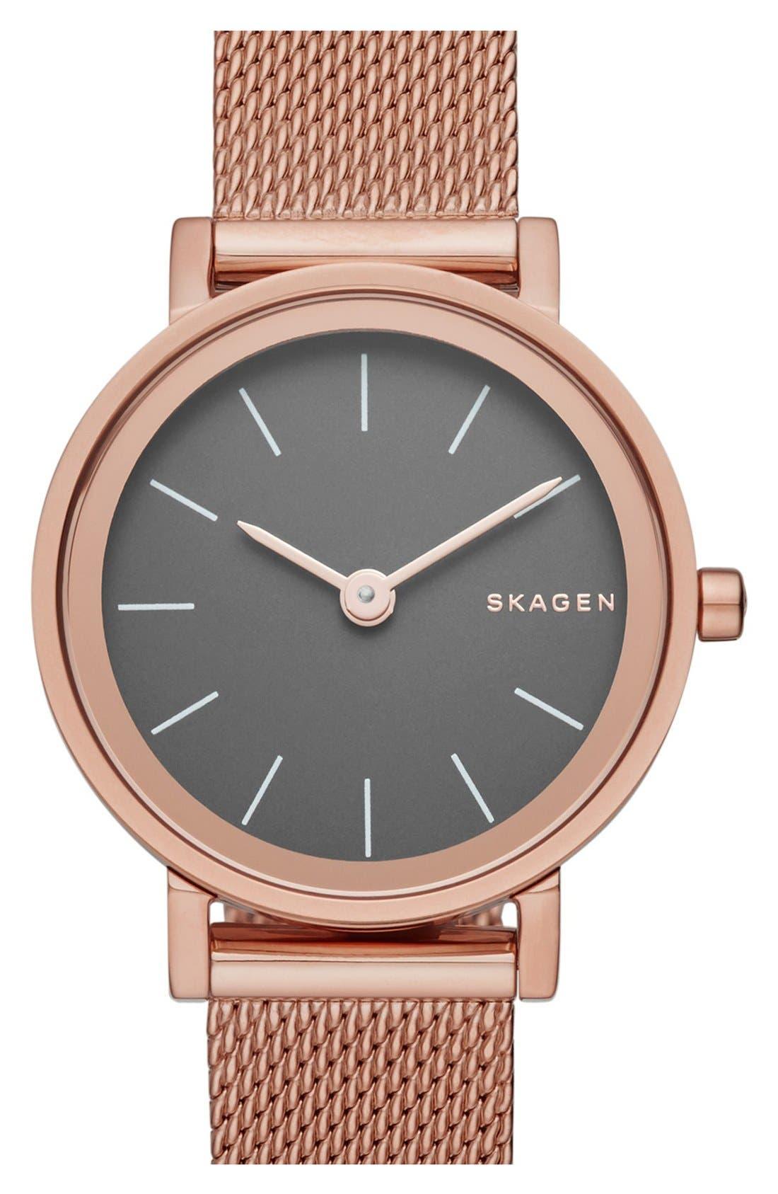 Alternate Image 1 Selected - Skagen 'Hald' Mesh Strap Watch, 26mm