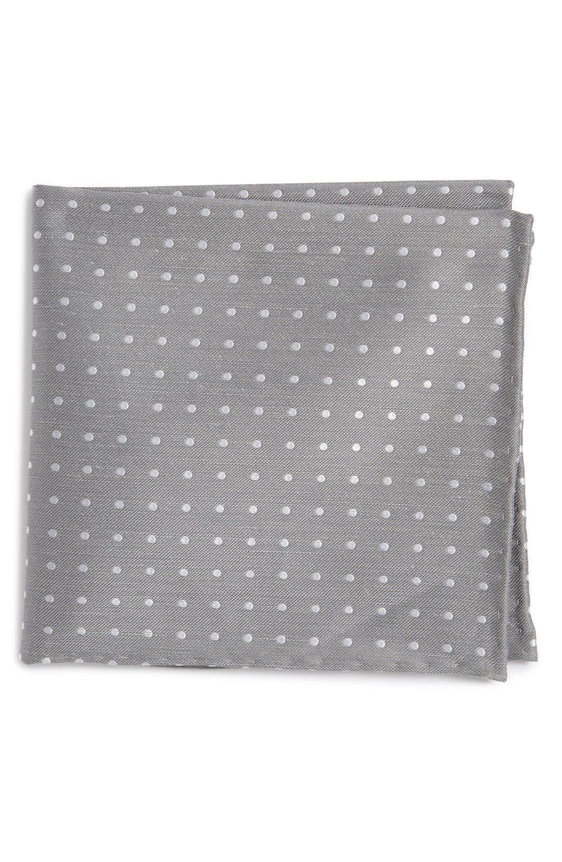 Dot Silk & Linen Pocket Square,                         Main,                         color, Silver