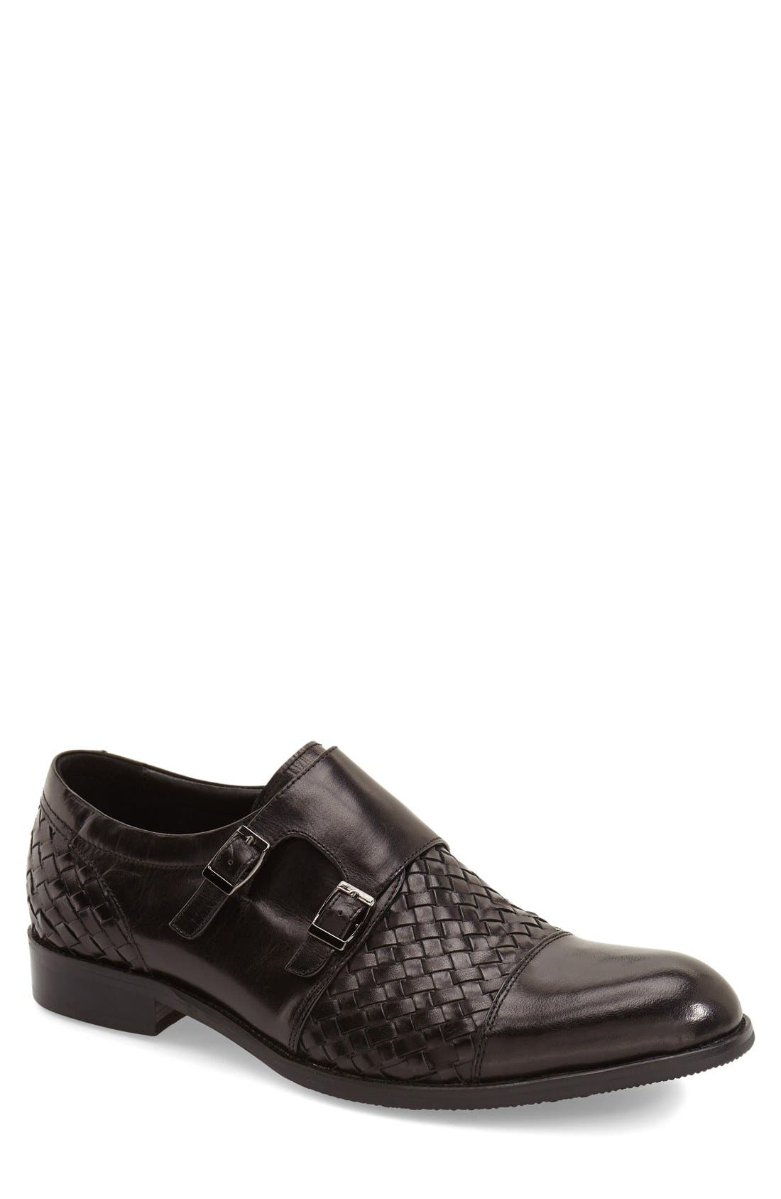'Mahler' Monk Strap Shoe,                             Main thumbnail 1, color,                             Black Leather