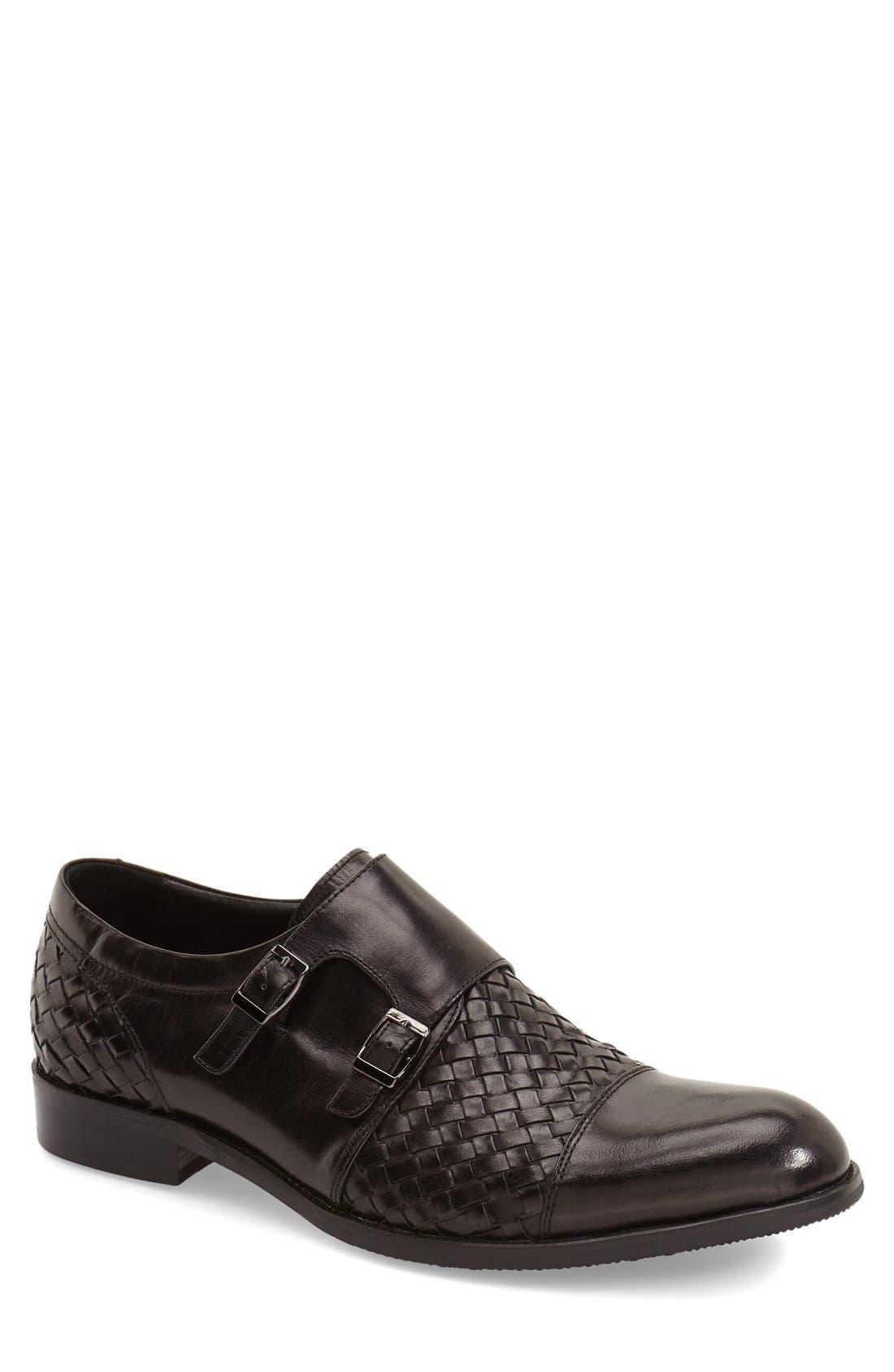 'Mahler' Monk Strap Shoe,                         Main,                         color, Black Leather