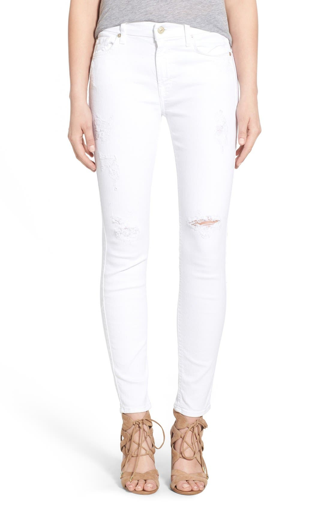 Main Image - 7 For All Mankind® Destroyed Ankle Skinny Jeans (Clean White)