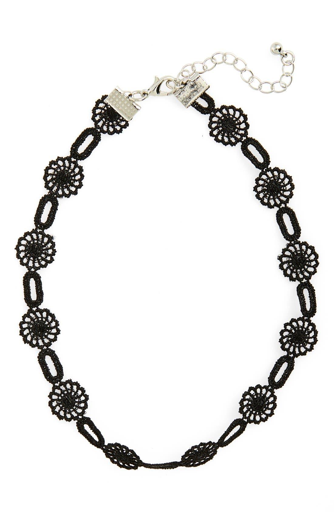 Crochet Flower Choker,                             Main thumbnail 1, color,                             Black