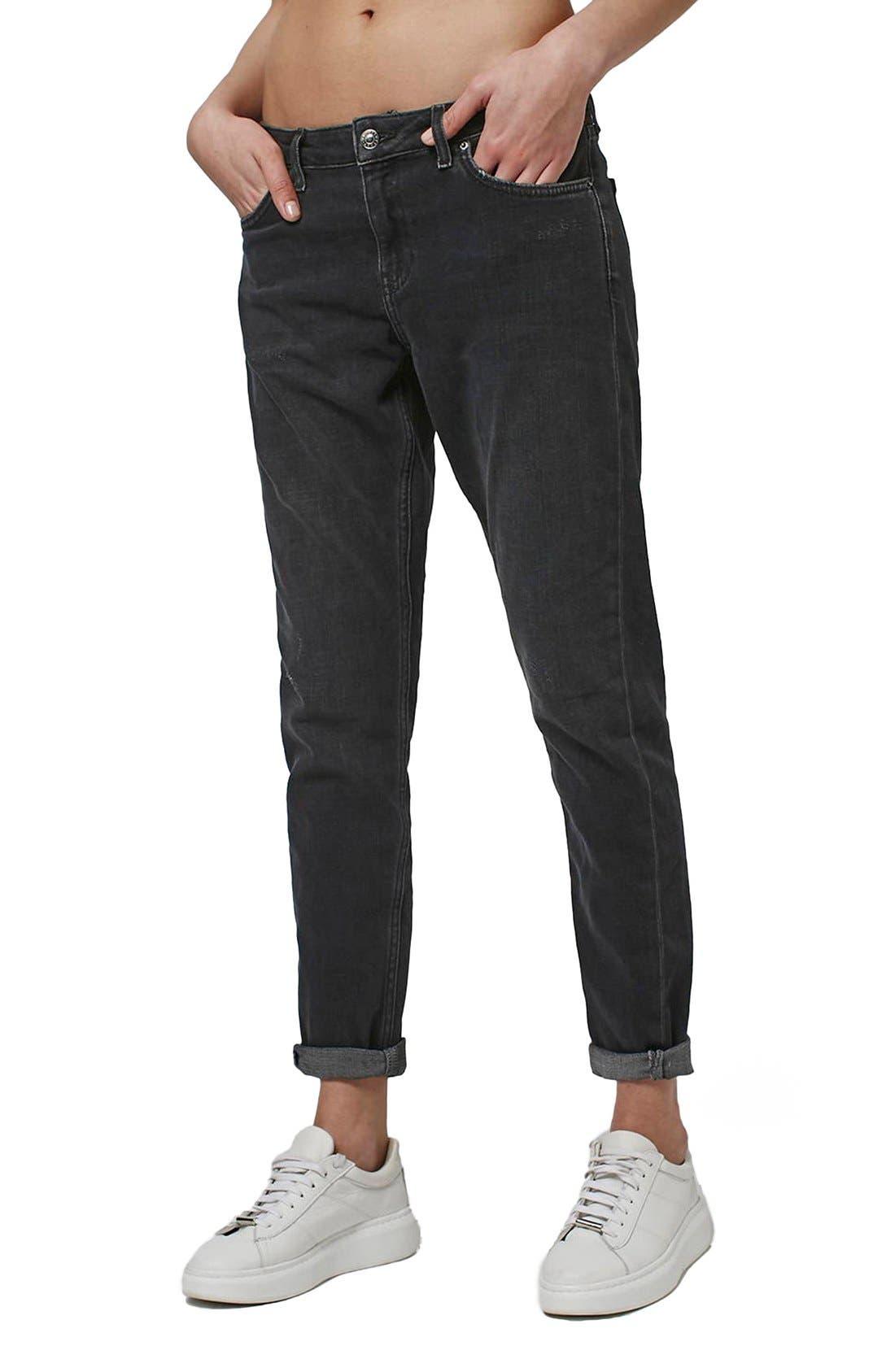 Alternate Image 1 Selected - Topshop Moto 'Lucas' Slim Boyfriend Jeans