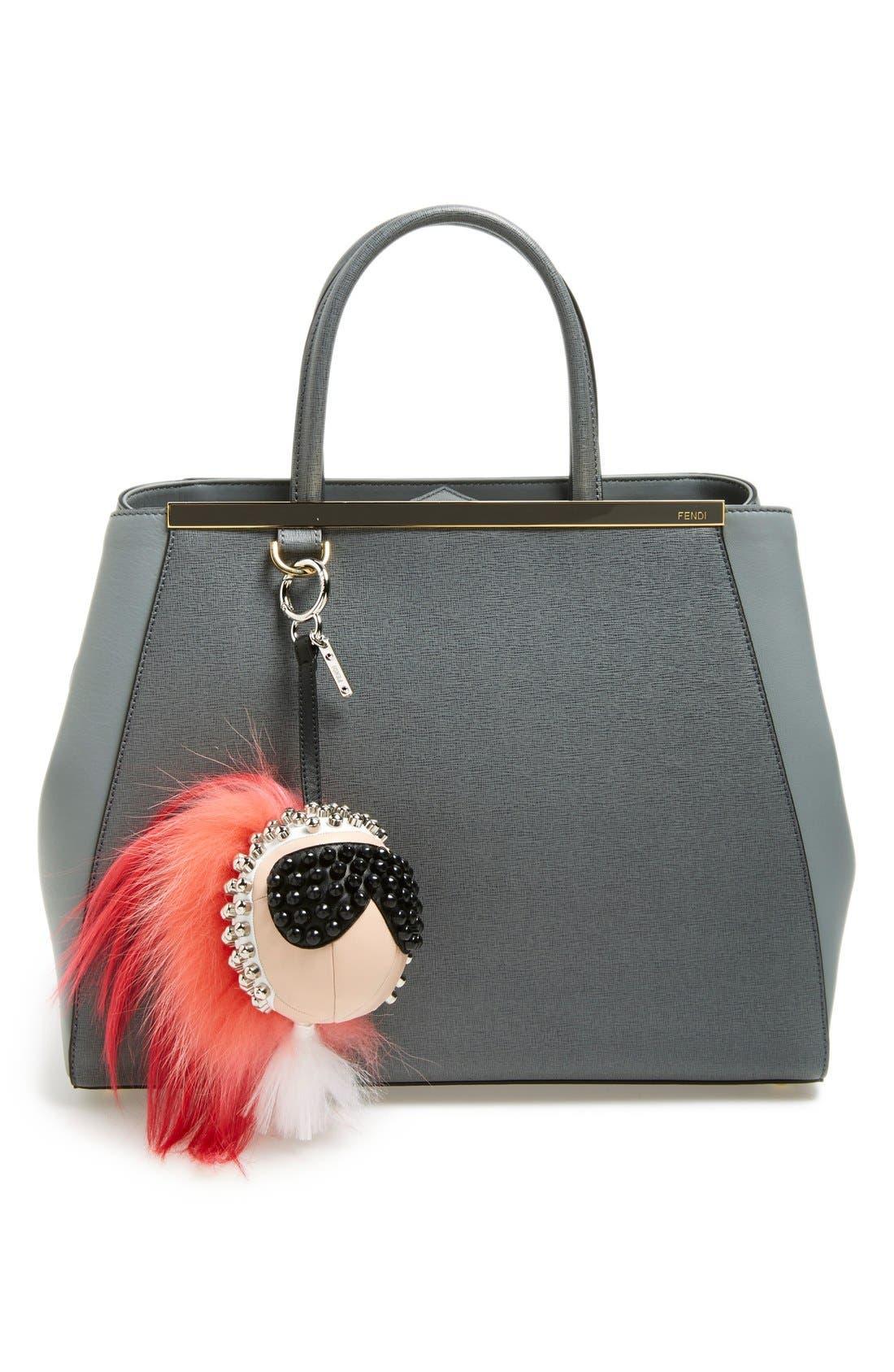 'Karlito' Genuine Goat Fur & Lambskin Leather Bag Charm,                             Alternate thumbnail 2, color,                             Pink