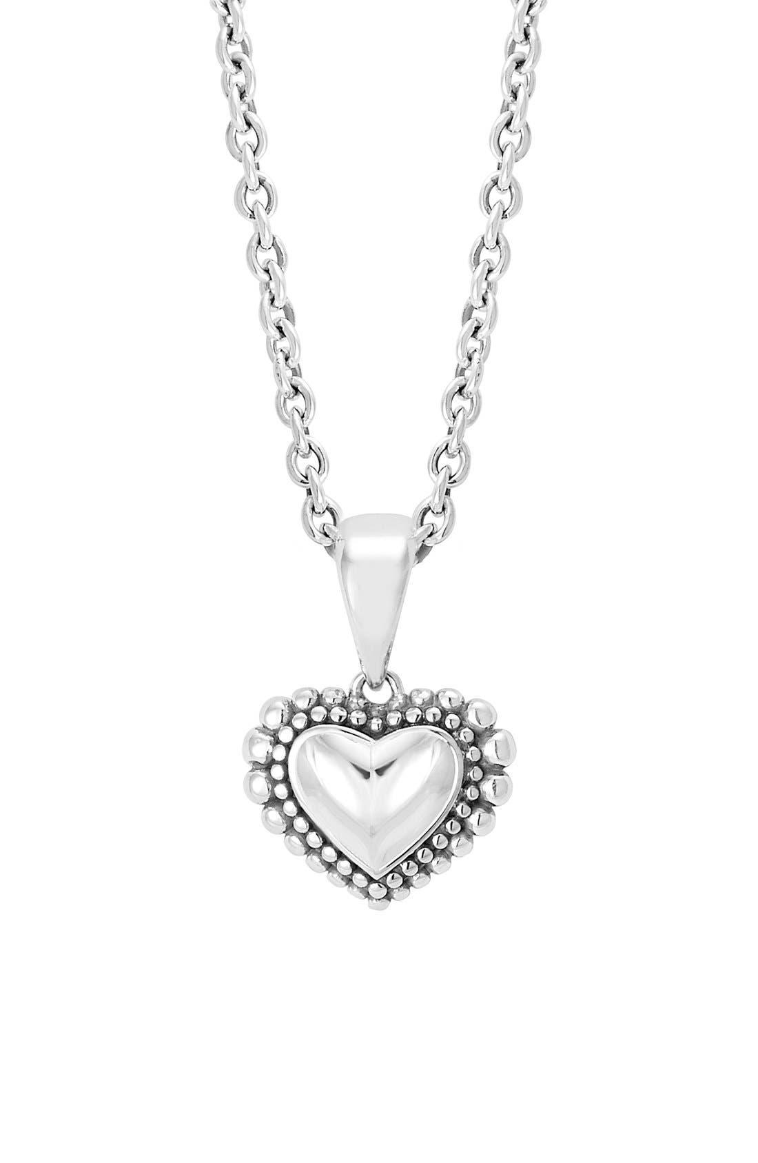 Heart Pendant Necklace,                         Main,                         color, Silver