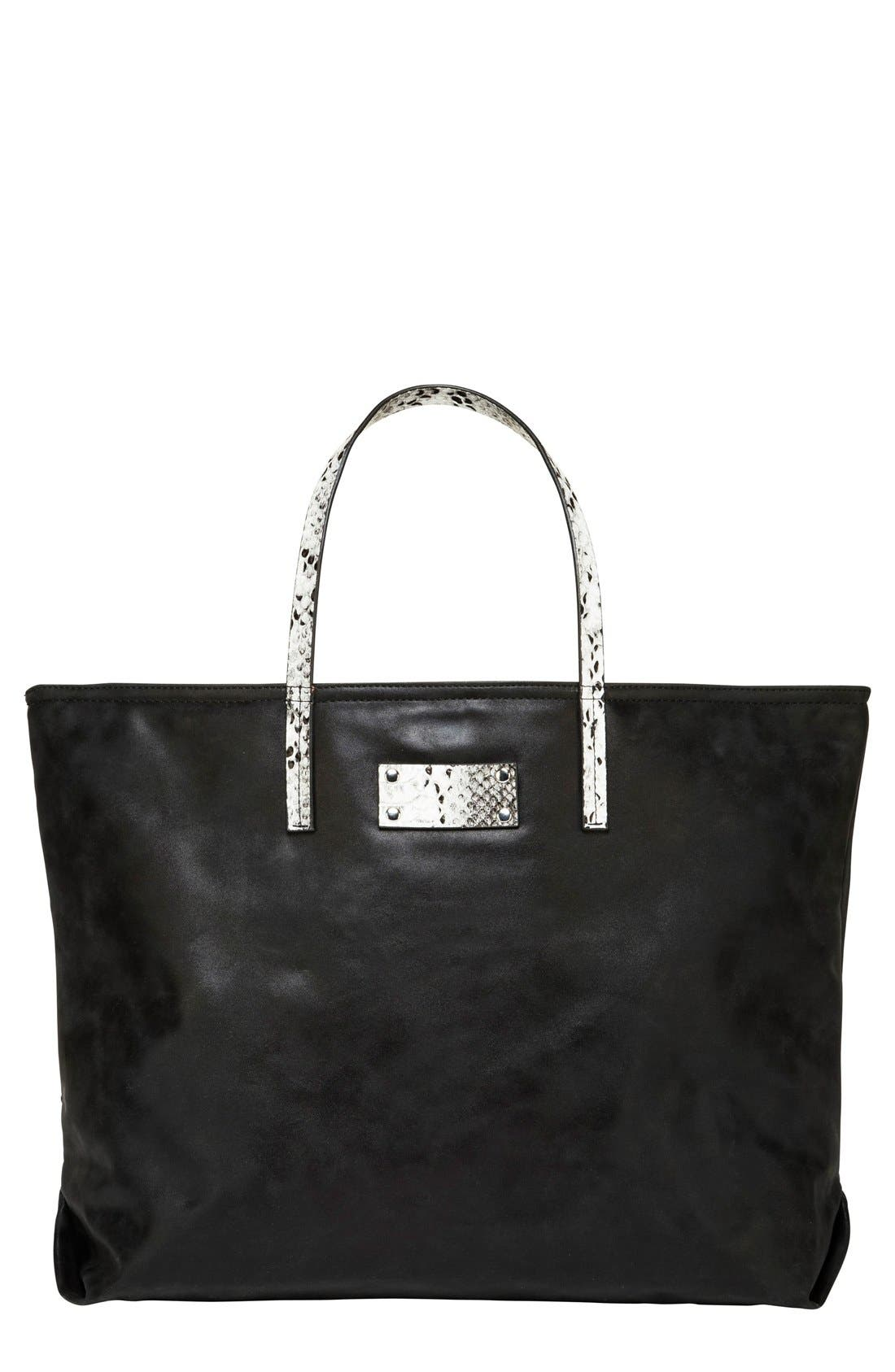 Sun Valley Vegan Leather Tote,                             Main thumbnail 1, color,                             Black