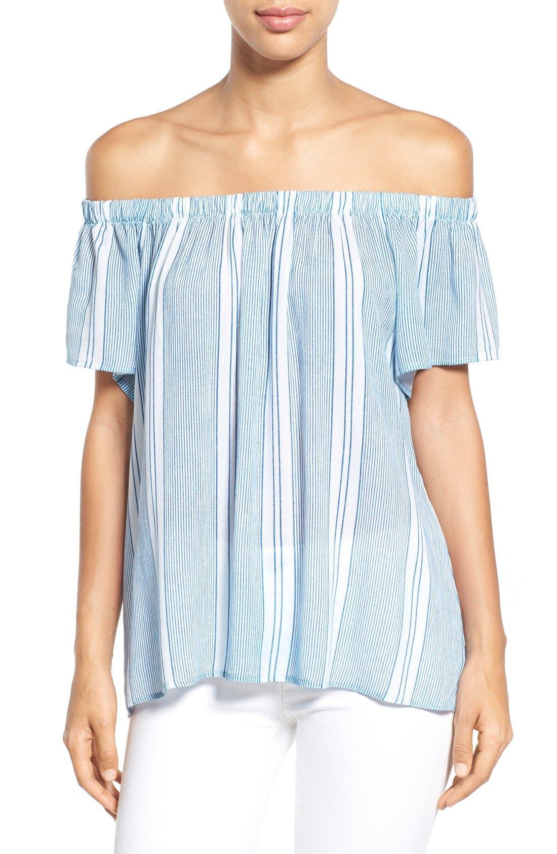 Off the Shoulder Top,                         Main,                         color, White/ Blue Stripe