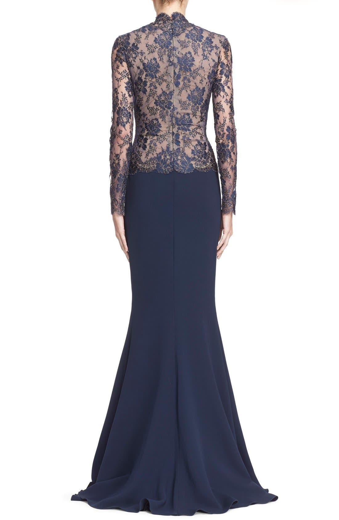 Alternate Image 2  - Reem Acra V-Neck Lace & Silk Crepe Trumpet Gown