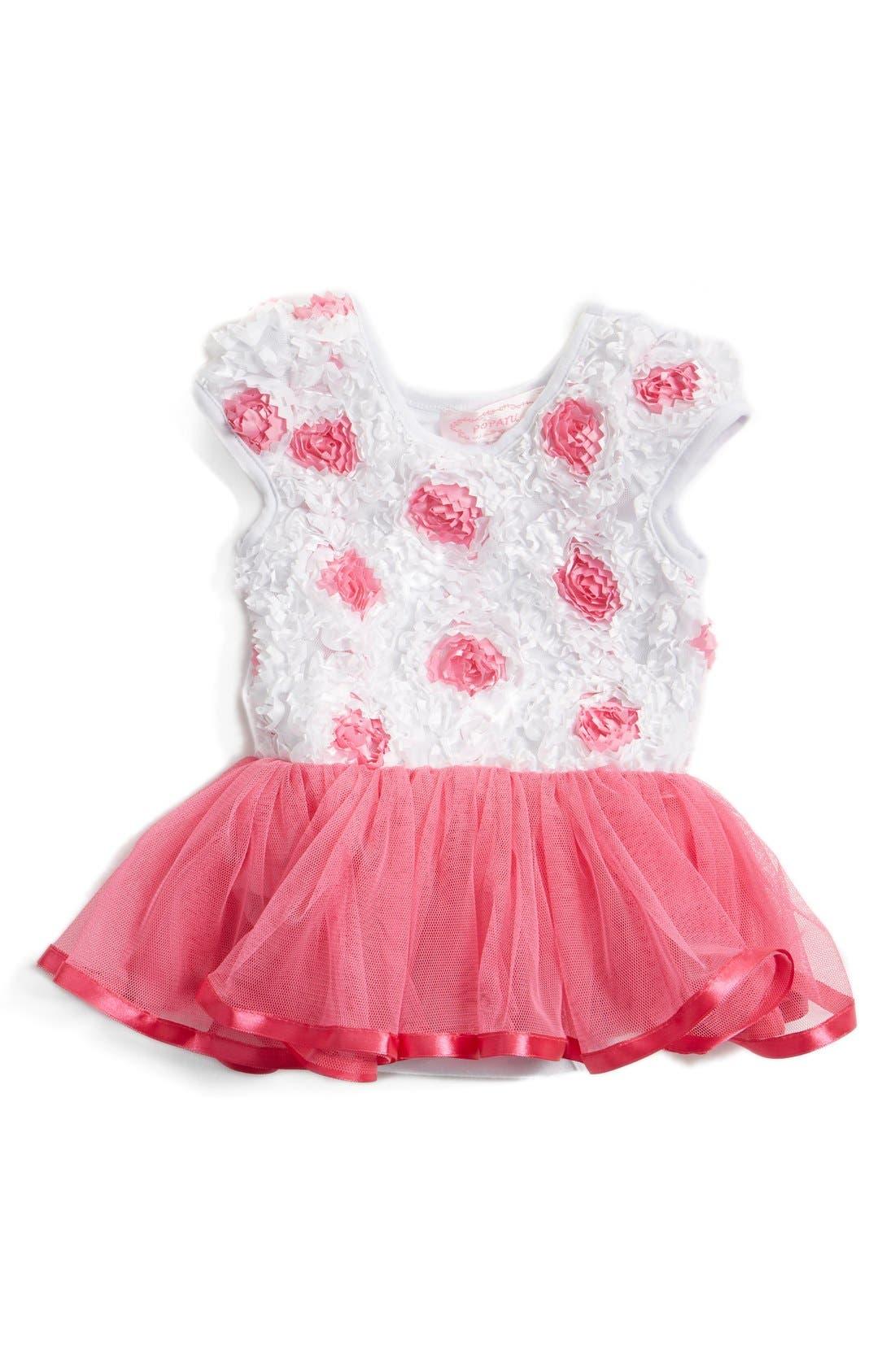 Main Image - Popatu Soutache Floral Tutu Dress (Baby Girls)