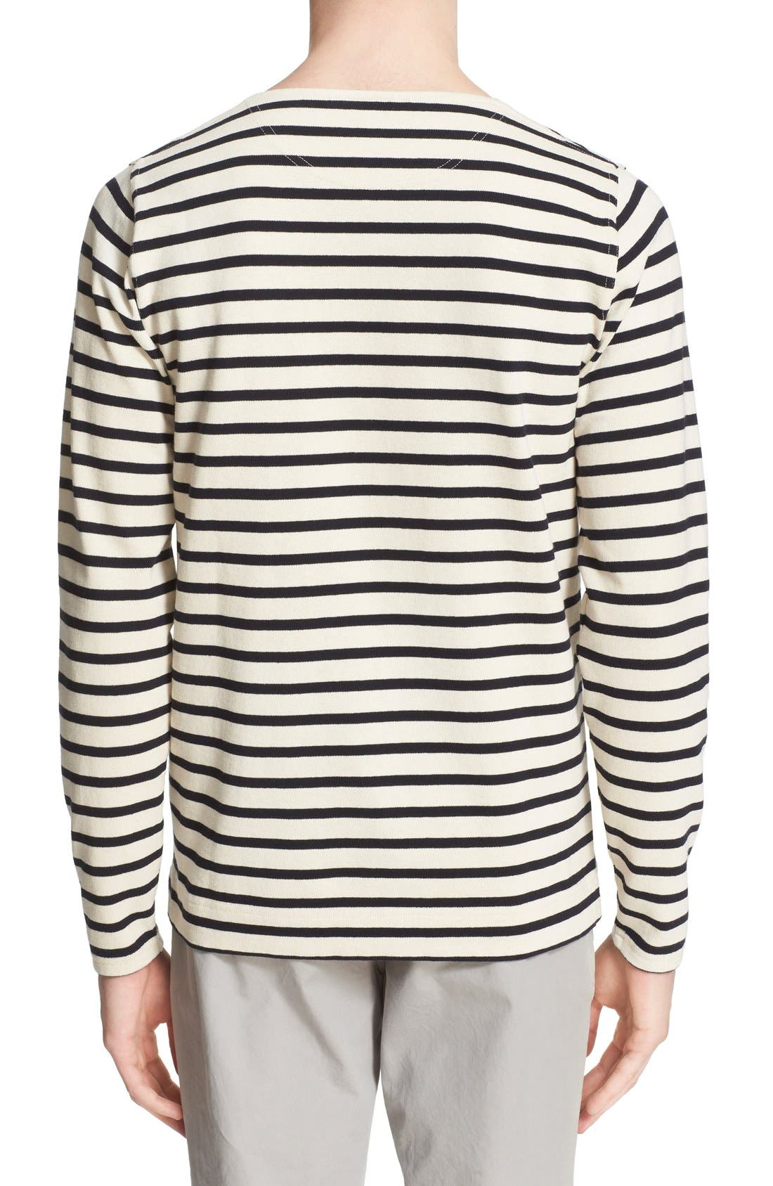 'Godtfred' Stripe Long Sleeve T-Shirt,                             Alternate thumbnail 2, color,                             Ecru Navy