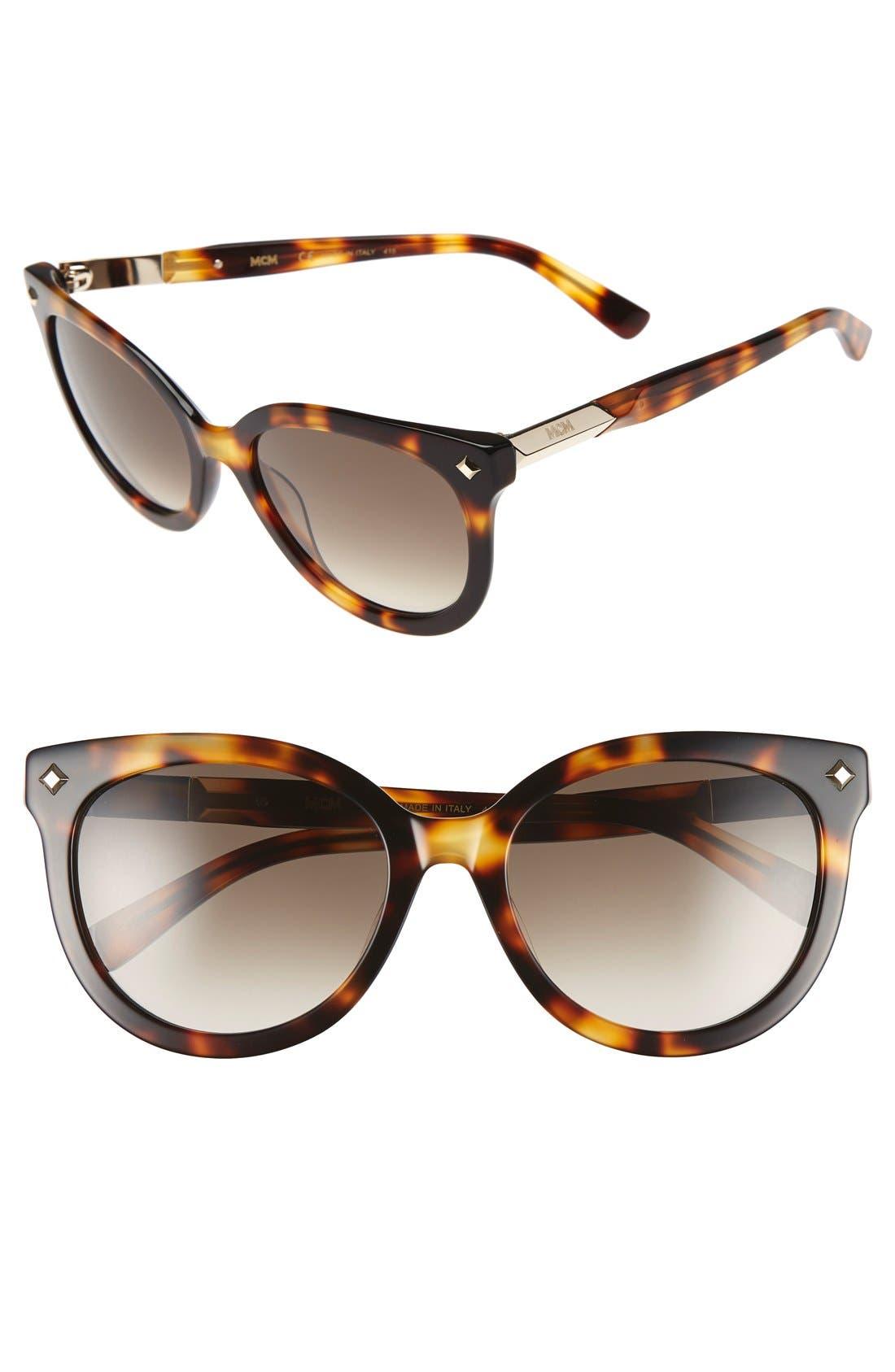 56mm Retro Sunglasses,                             Main thumbnail 1, color,                             Havana