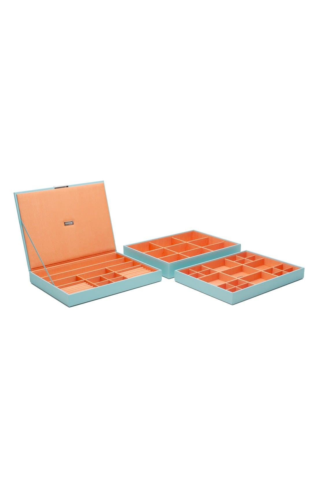 'Large Stackable' Jewelry Trays,                             Main thumbnail 1, color,                             Aqua