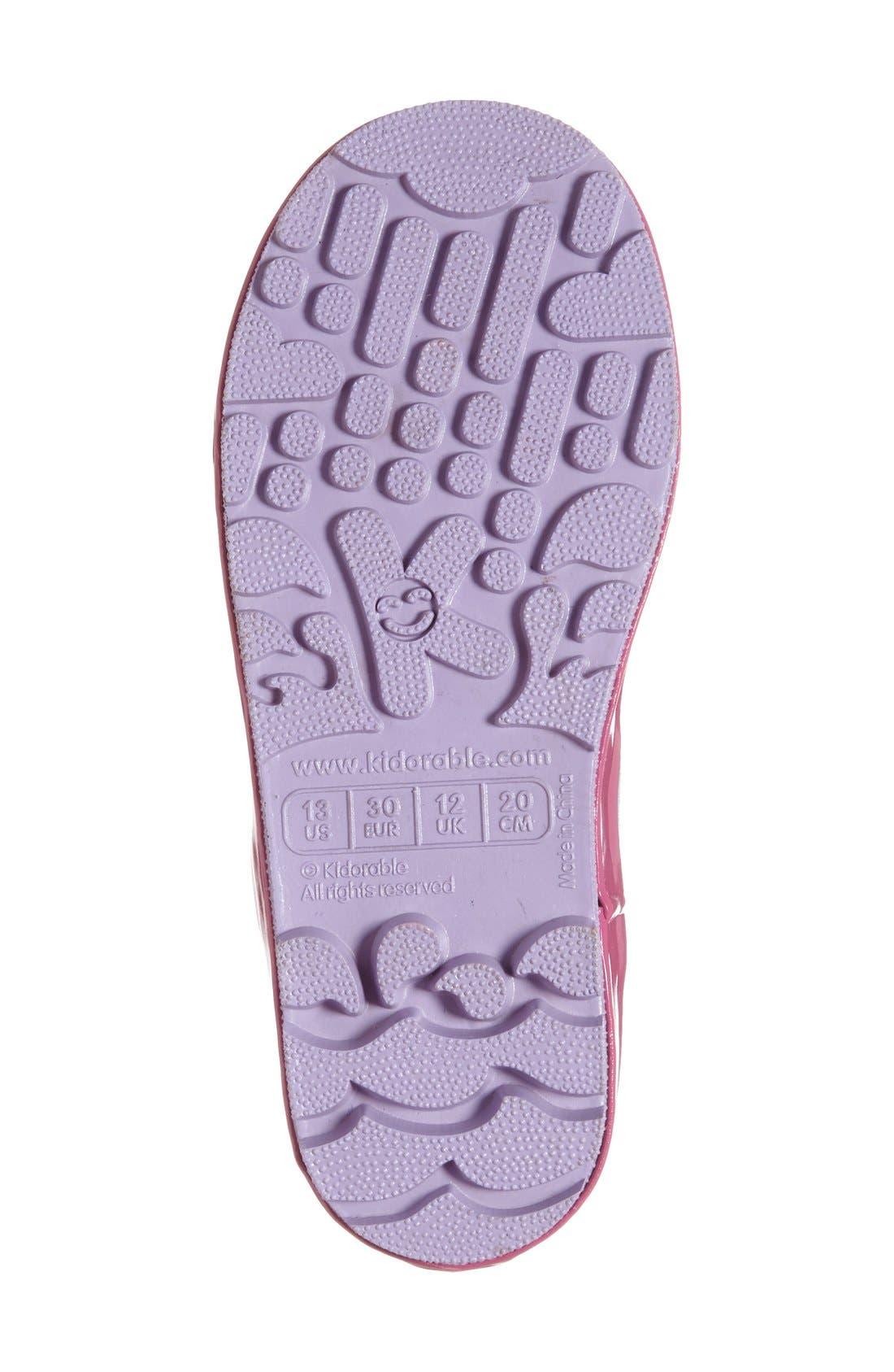 'Mermaid' Waterproof Rain Boot,                             Alternate thumbnail 4, color,                             Blue