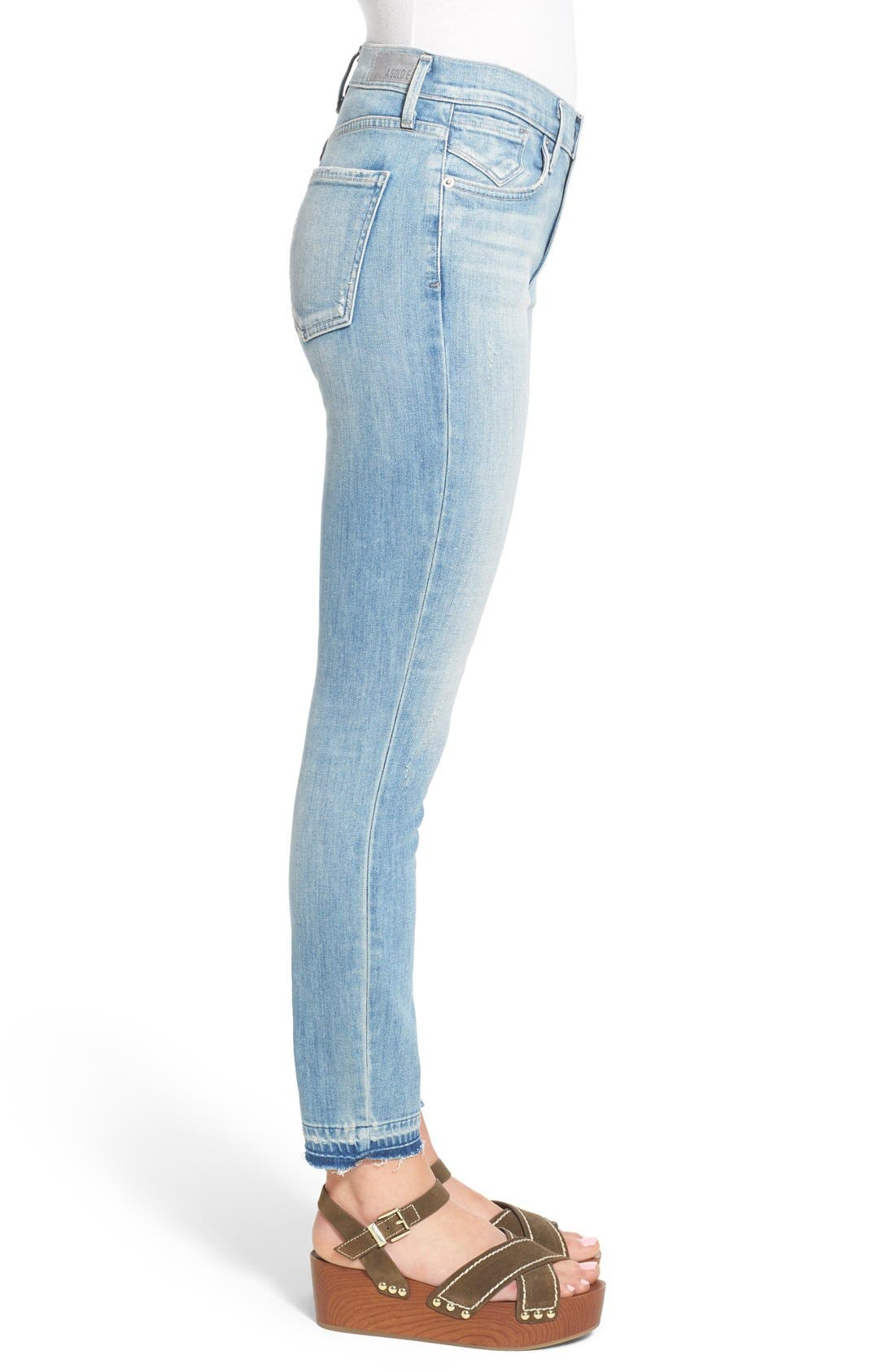 Alternate Image 3  - A Gold E 'Sophie' Crop Skinny Jeans (Blue Lagoon)