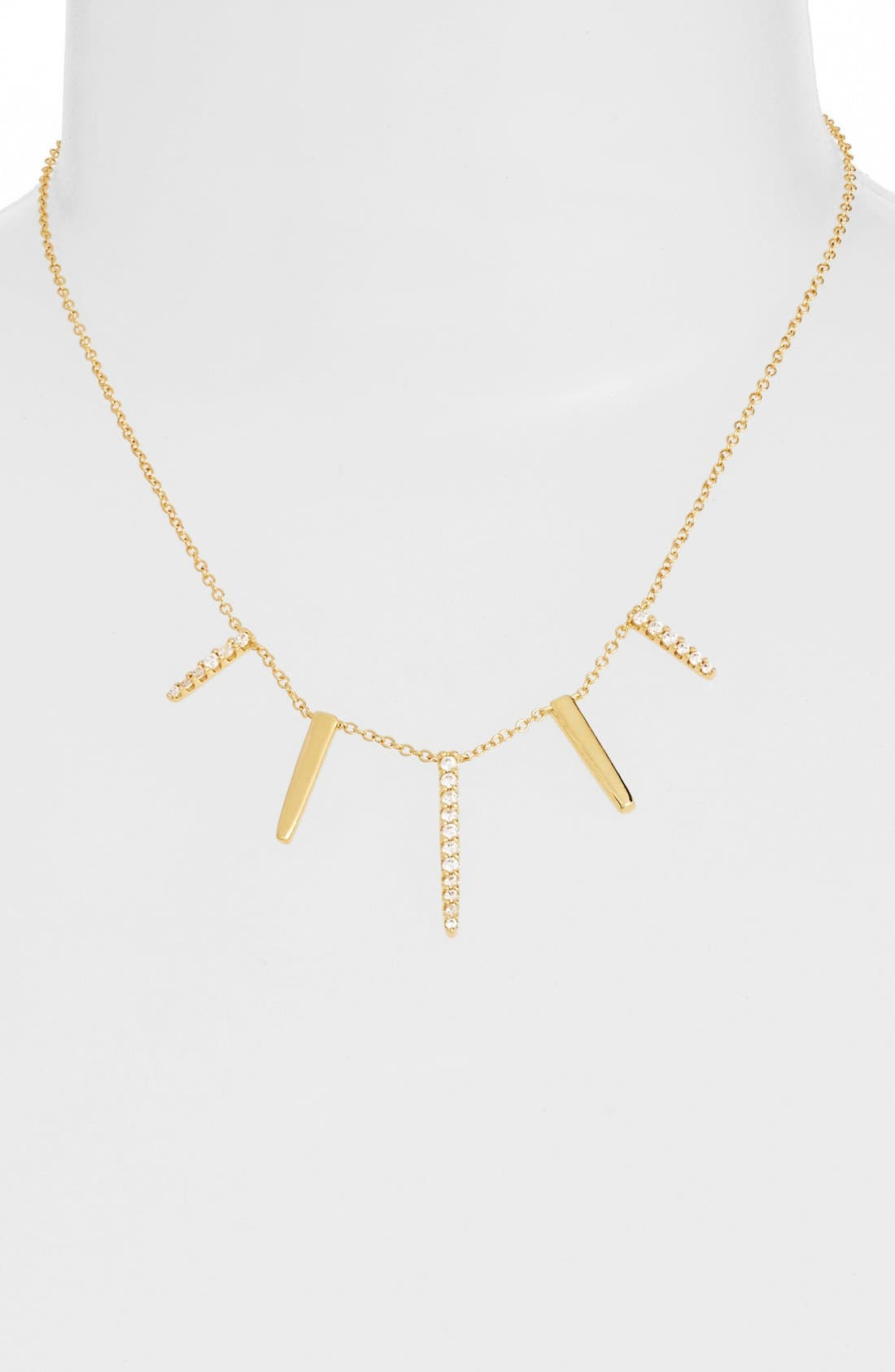 Pavé Spike Cubic Zirconia Frontal Necklace,                         Main,                         color, Gold