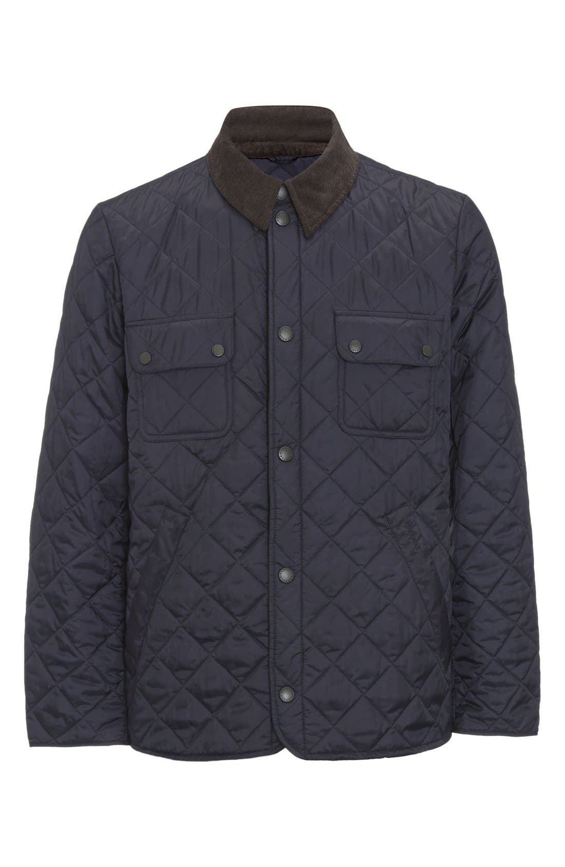 'Tinford' Regular Fit Quilted Jacket,                             Alternate thumbnail 9, color,                             Navy
