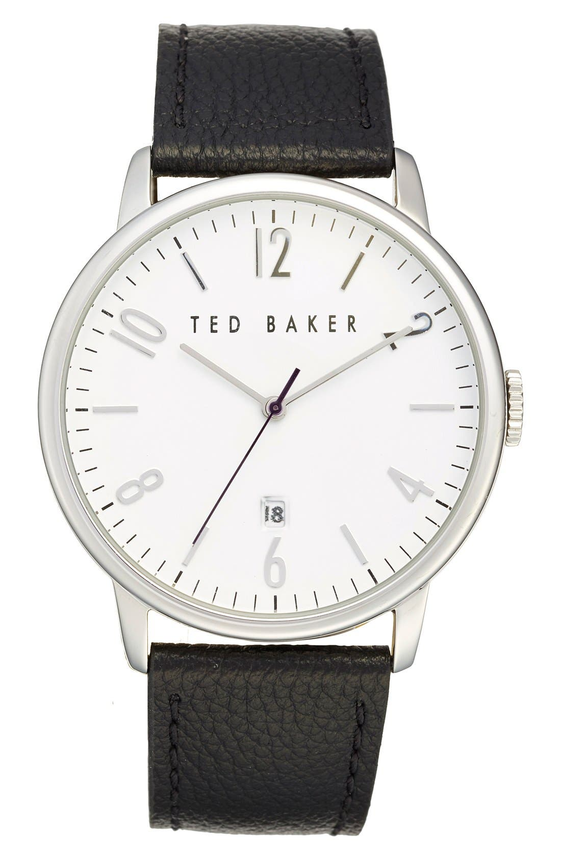 Main Image - Ted Baker London Leather Strap Watch, 42mm