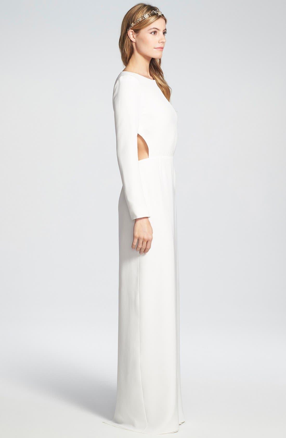 Alternate Image 3  - Houghton 'Cheyne' Open Back Long Sleeve Silk Column Gown