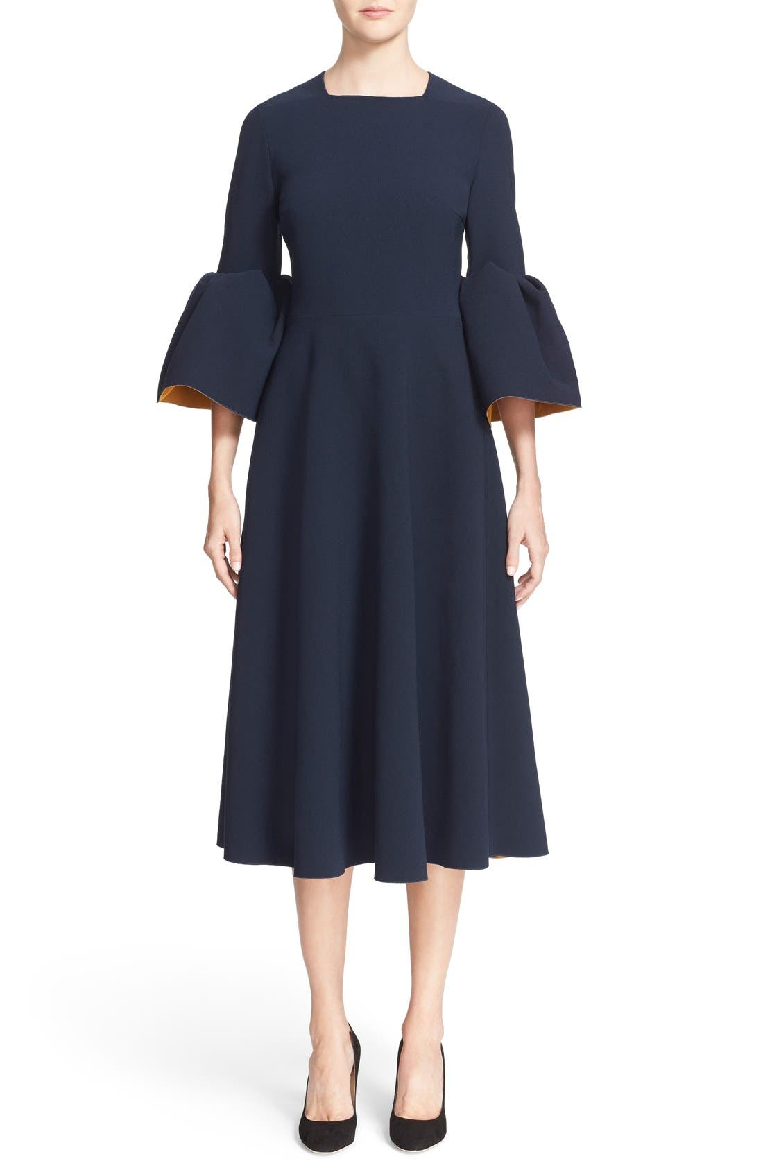 Turlin Flounce Sleeve Midi Dress,                             Main thumbnail 1, color,                             Navy/ Ochre