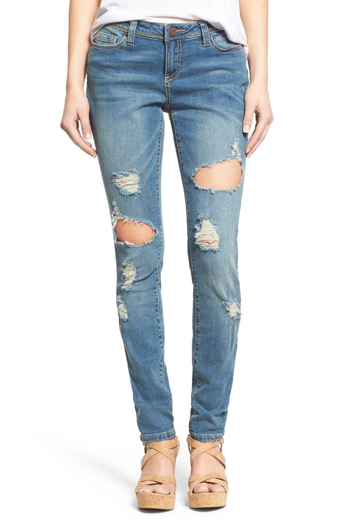 Alternate Image 1 Selected - Poetic Justice 'Maya' Distressed Mid Rise Skinny Jeans (Tough Love)