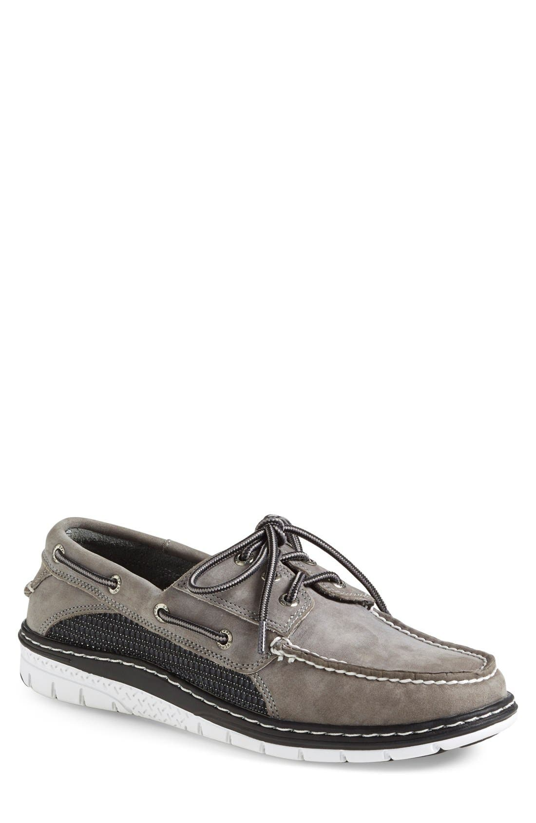 'Billfish Ultralite' Boat Shoe,                             Main thumbnail 1, color,                             Grey/ Black Leather
