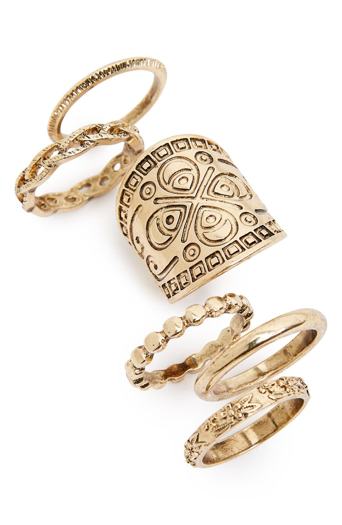 Main Image - Topshop Engraved Rings (Set of 6)