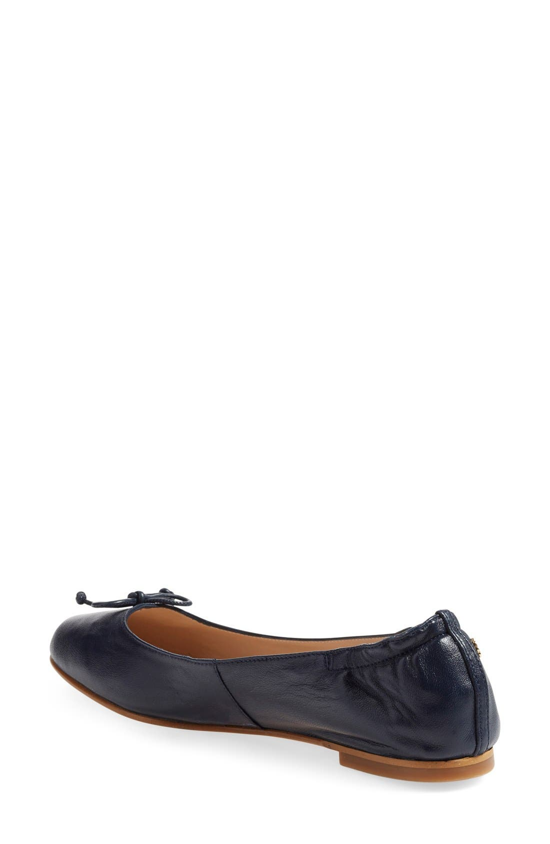 'Thea' Ballet Flat,                             Alternate thumbnail 2, color,                             Navy Leather