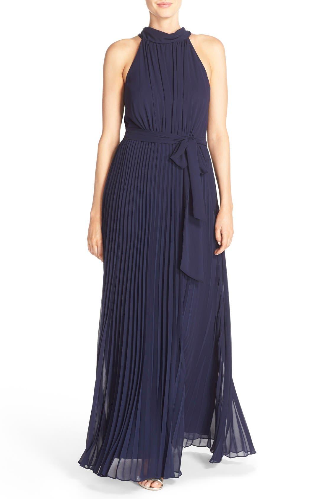Eliza J Pleated Chiffon A-Line Maxi Dress