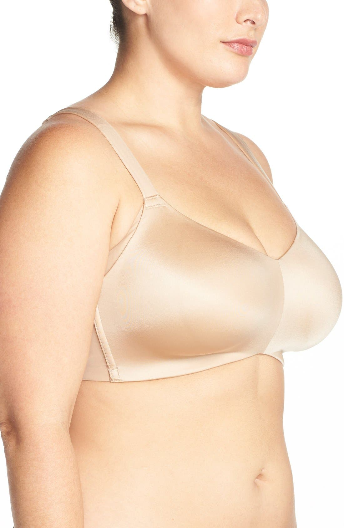 'Smoothing Solutions' Wireless Contour Bra,                             Alternate thumbnail 3, color,                             Bombshell Nude