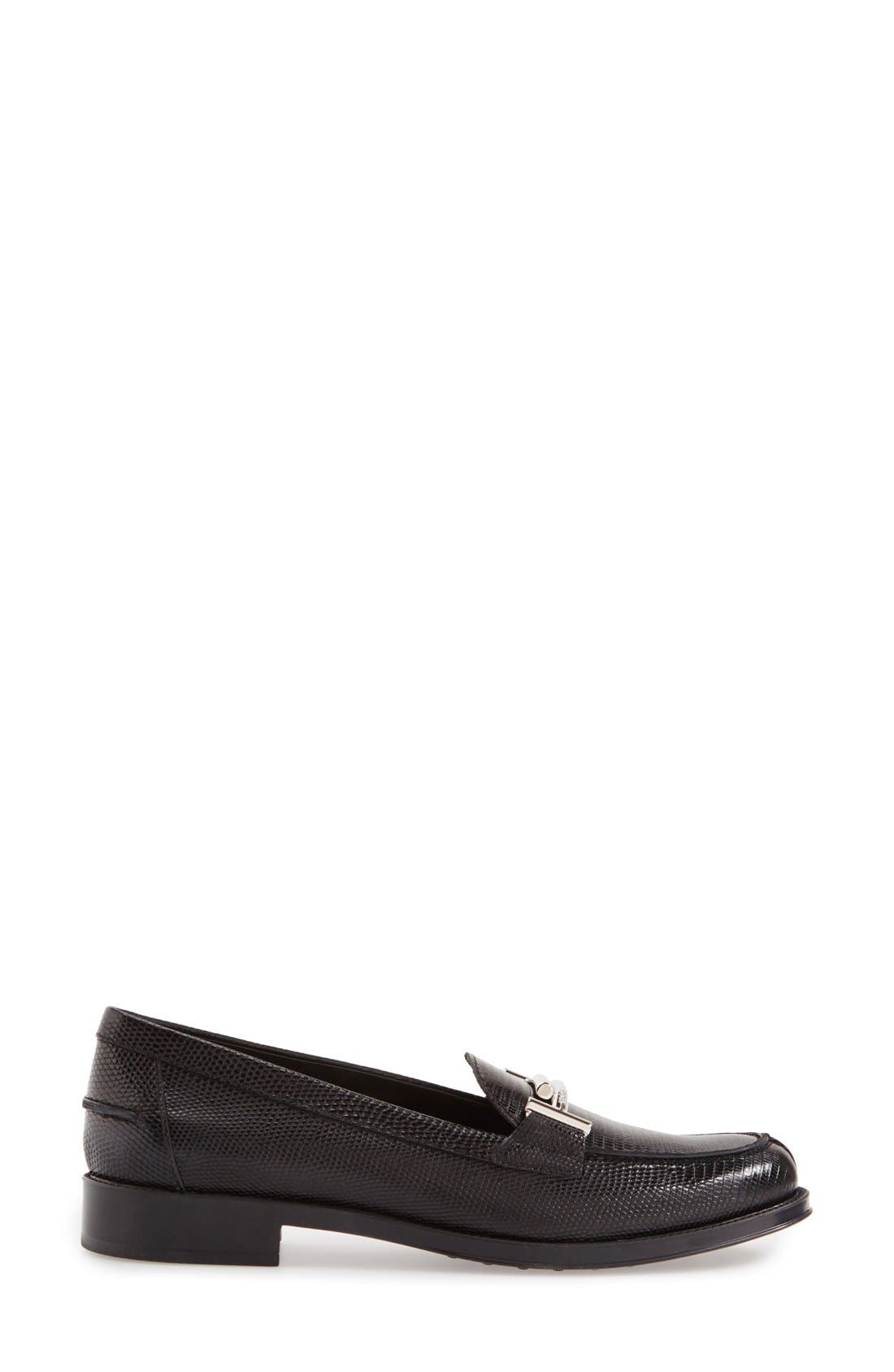'Double T' Loafer,                             Alternate thumbnail 4, color,                             Black