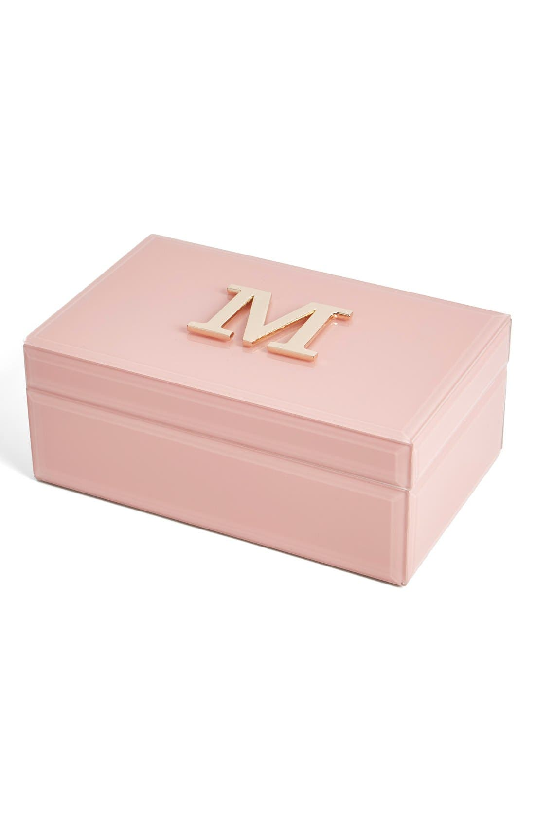 Monogram Jewelry Box,                             Main thumbnail 1, color,                             Rose - M