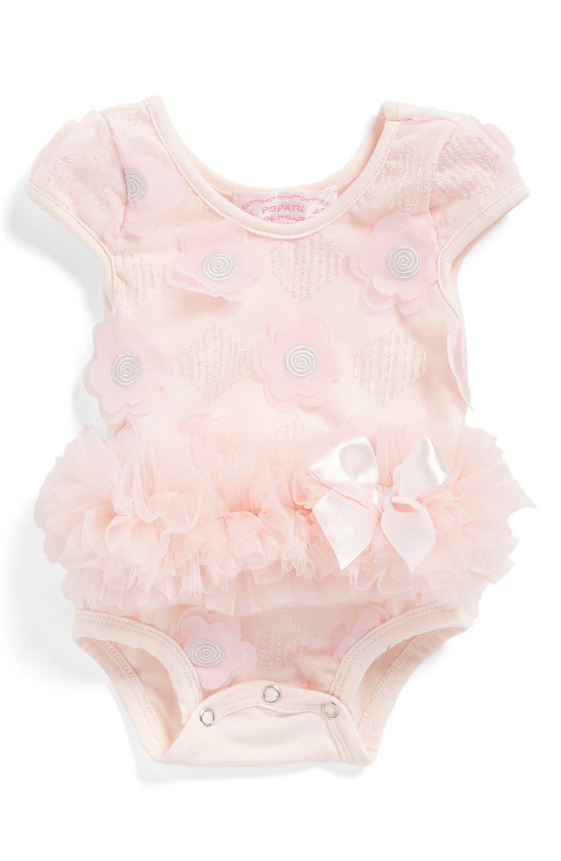 Main Image - Popatu Floral Appliqué Bodysuit (Baby Girls)