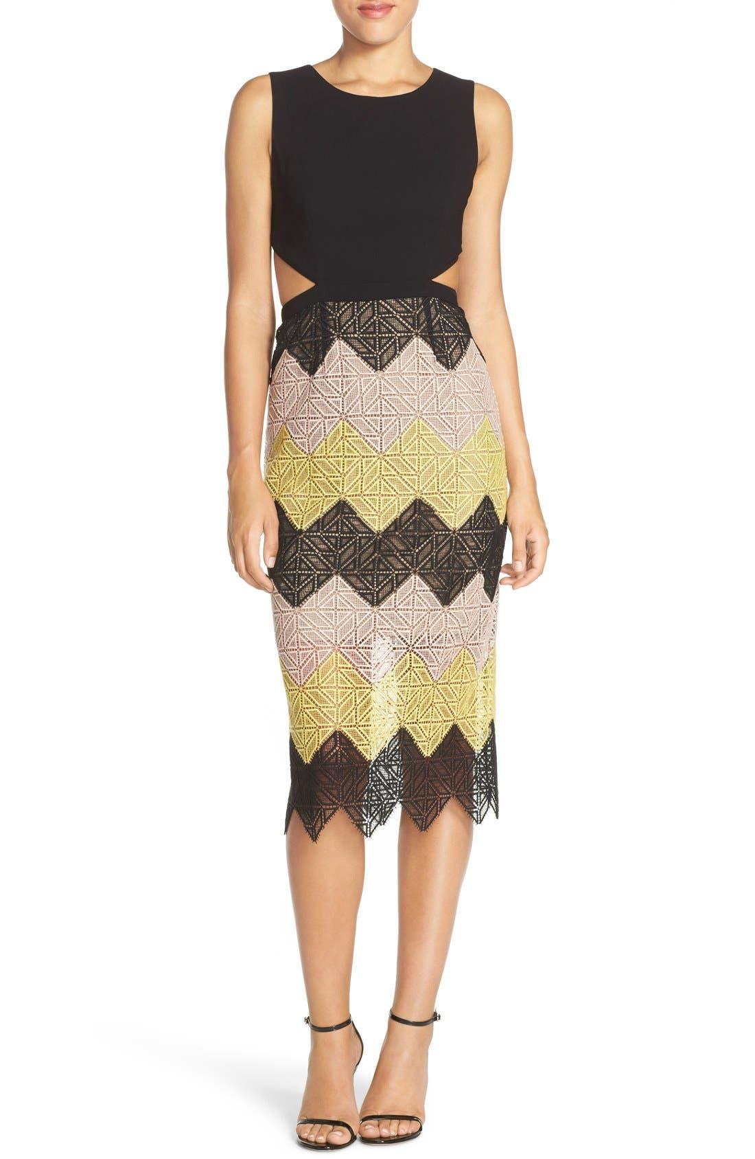 Main Image - BCBGMAXAZRIA 'Ariela' Colorblock Lace Midi Dress