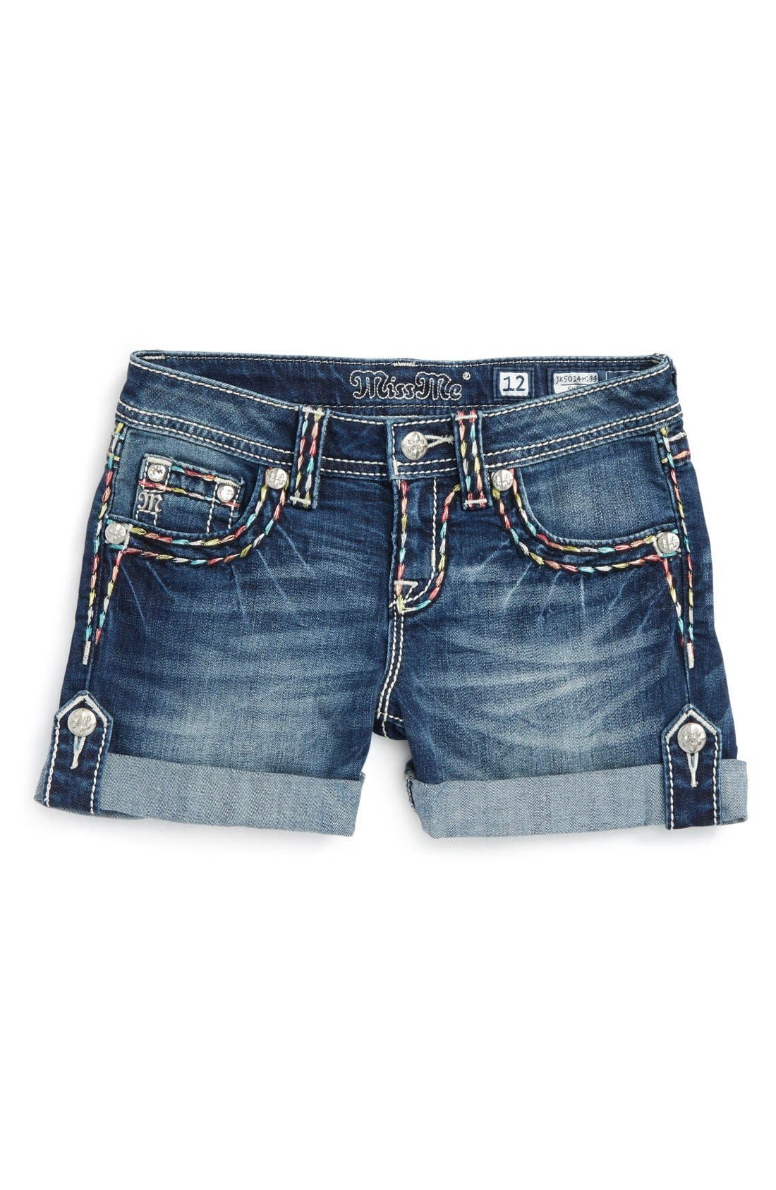 Alternate Image 1 Selected - Miss Me Rainbow Stitch Embellished Cuff Shorts (Big Girls)