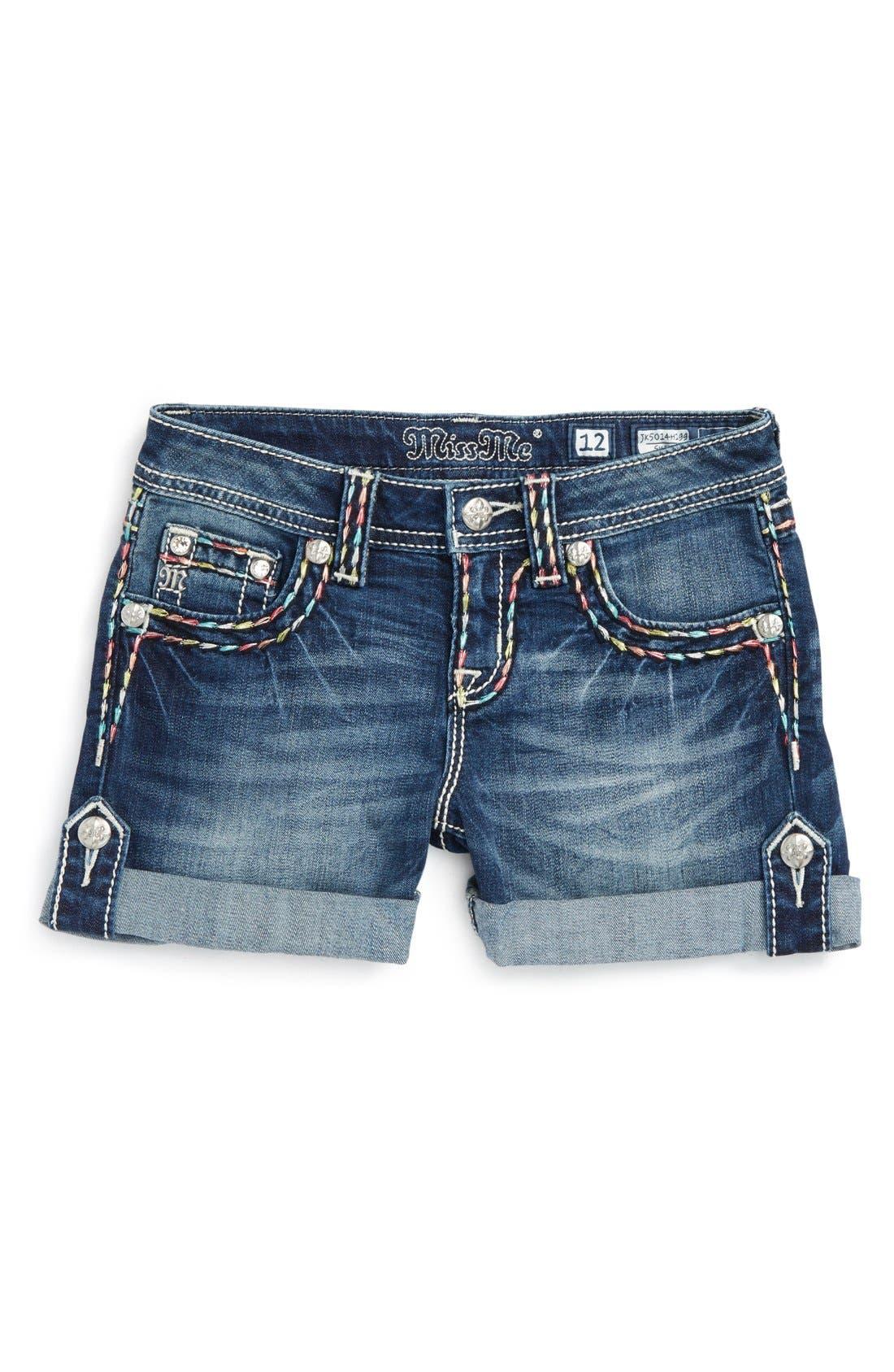 Main Image - Miss Me Rainbow Stitch Embellished Cuff Shorts (Big Girls)
