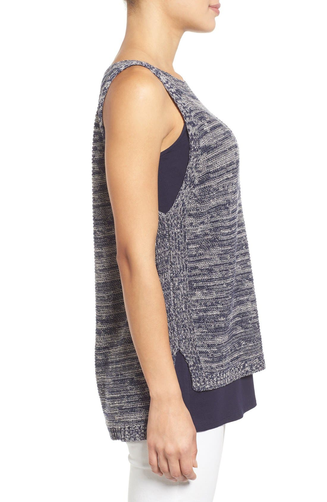 Alternate Image 3  - Eileen Fisher Organic Linen Knit Bateau Neck High/Low Shell