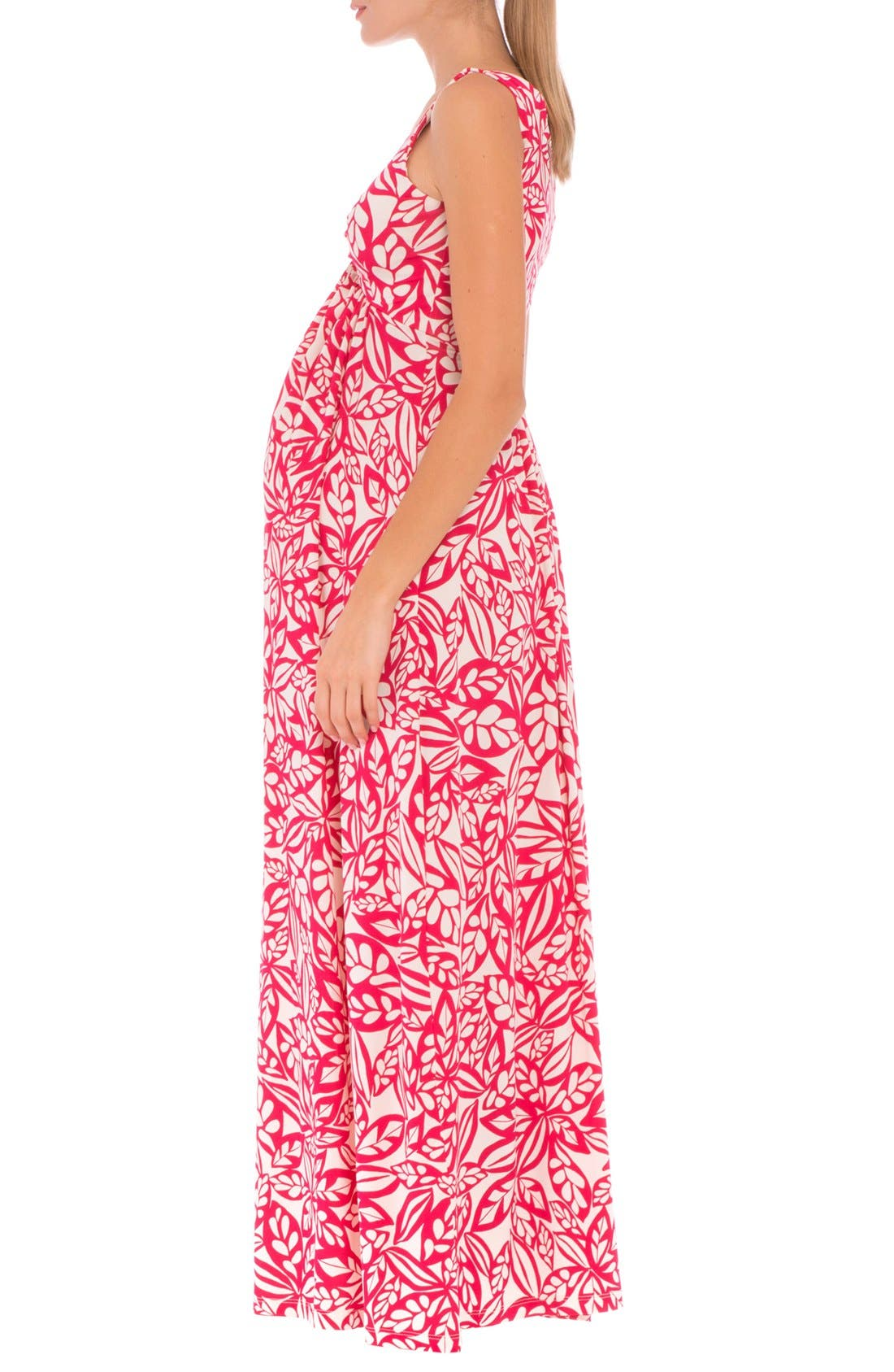 'Miranda' Maternity Maxi Dress,                             Alternate thumbnail 3, color,                             Red