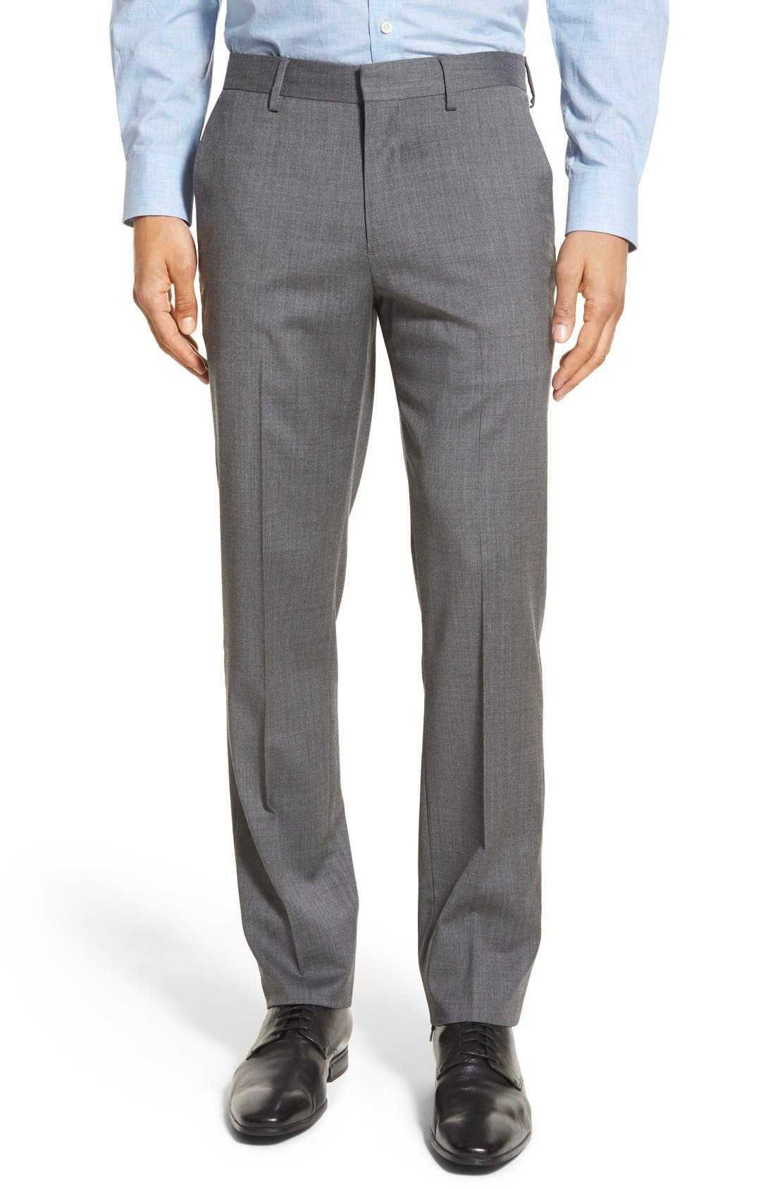 Main Image - Bonobos Jetsetter Slim Fit Flat Front Solid Stretch Wool Trousers
