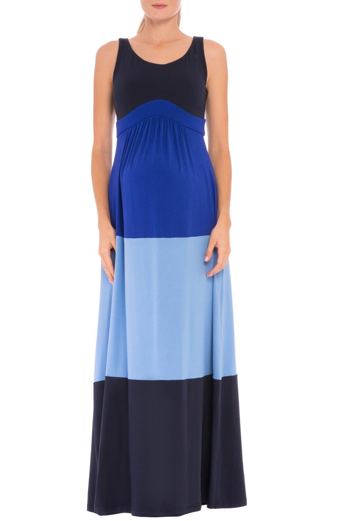 'Margarette' Colorblock Maternity Tank Dress,                         Main,                         color, Navy