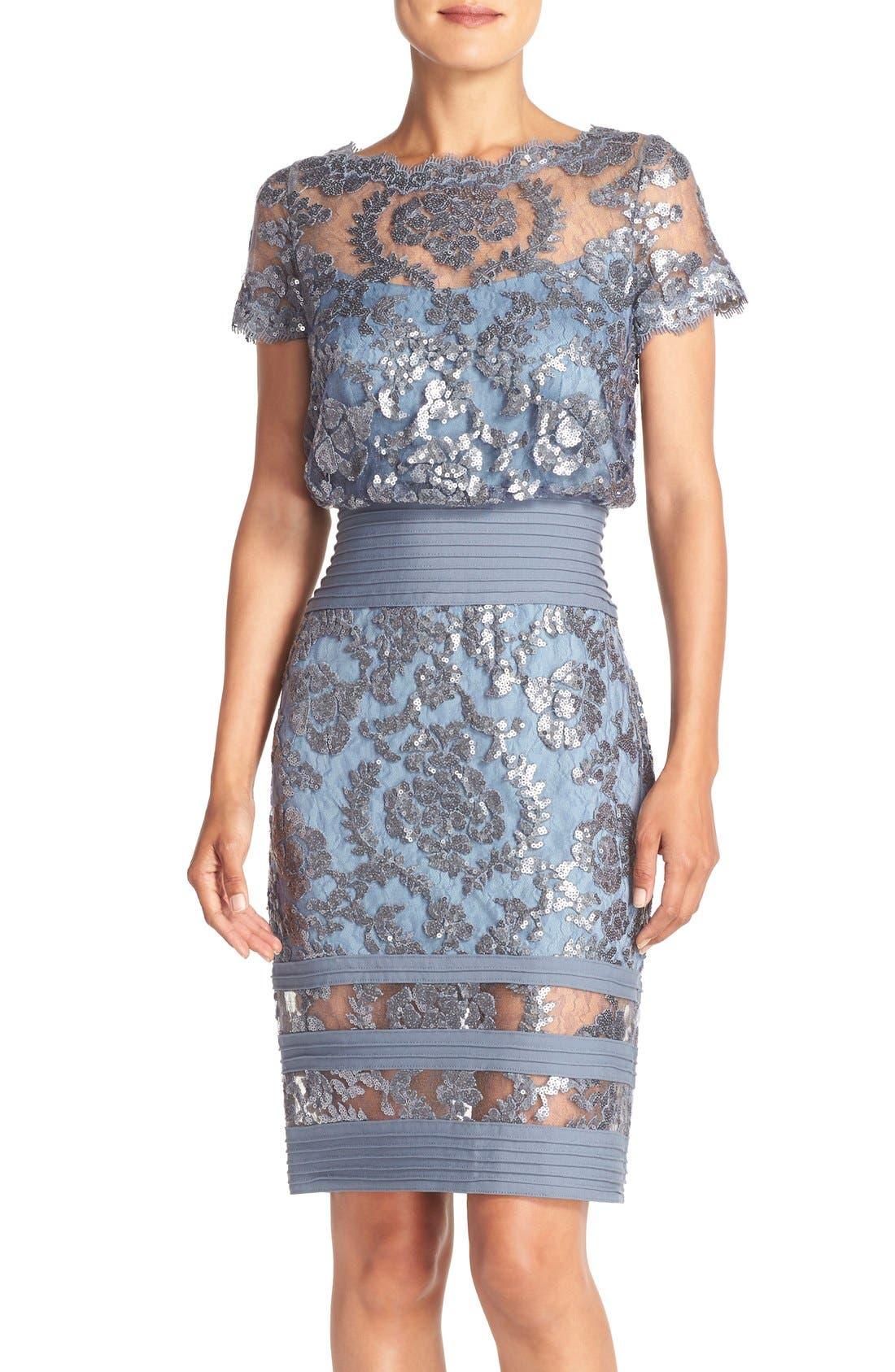 Alternate Image 1 Selected - Tadashi Shoji Sequin Embroidered Blouson Dress (Regular & Petite)