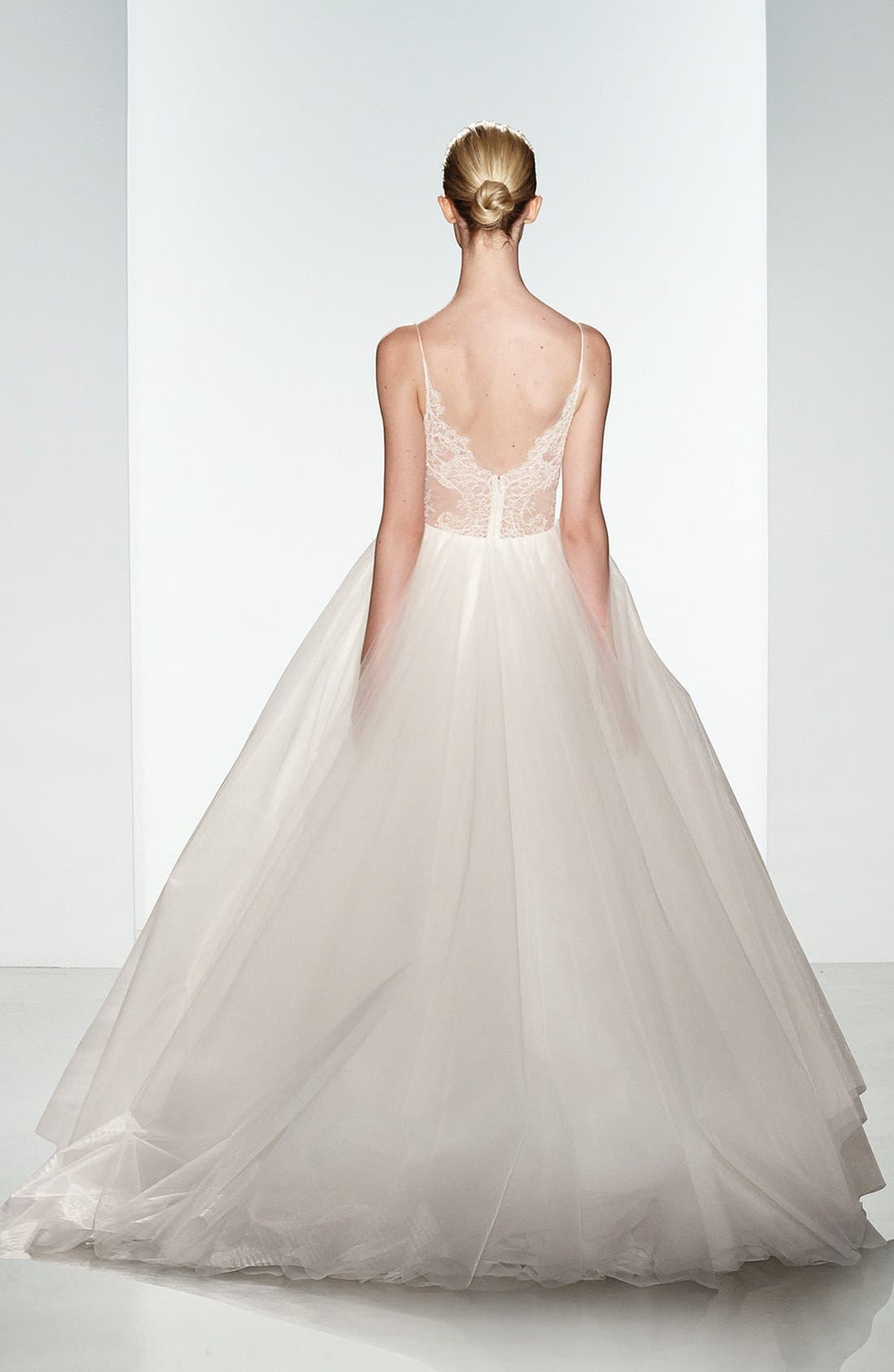 Alternate Image 2  - Christos Bridal Penny Lace Inset Spaghetti Strap Tulle Ballgown
