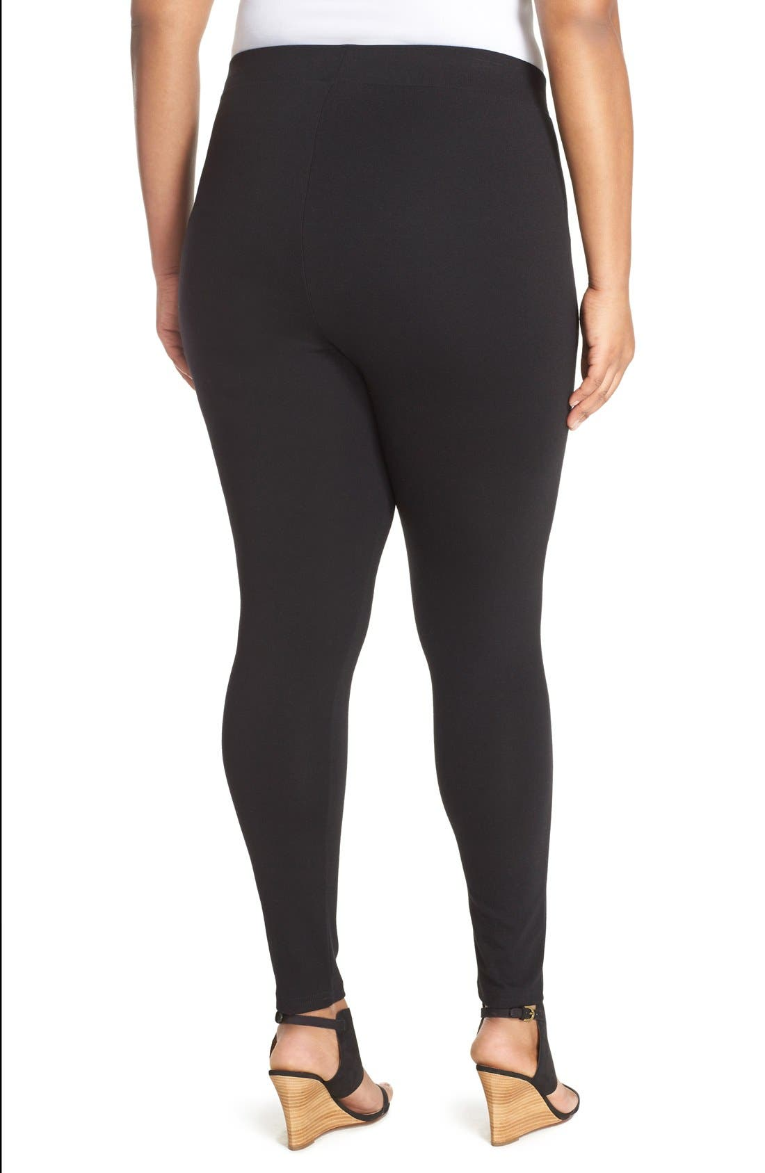 Alternate Image 2  - Sejour Ponte Leggings (Plus Size)