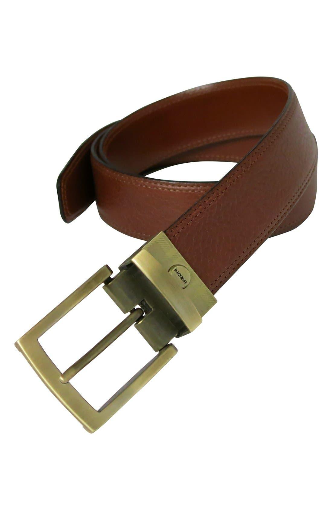 Reversible Leather Belt,                             Alternate thumbnail 2, color,                             Cognac/ Tan