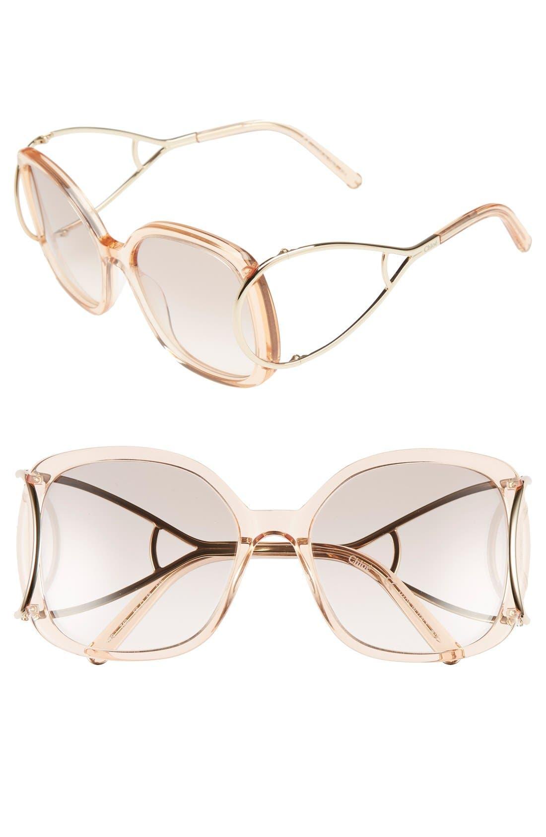 Chloé 'Jackson' 56mm Square Sunglasses
