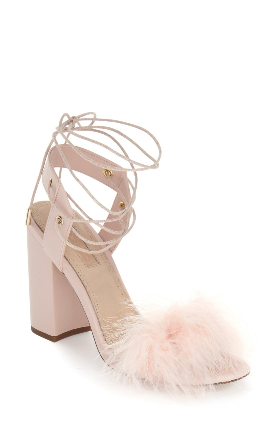 Marabou Feather Lace-Up Sandal,                             Main thumbnail 1, color,                             Nude